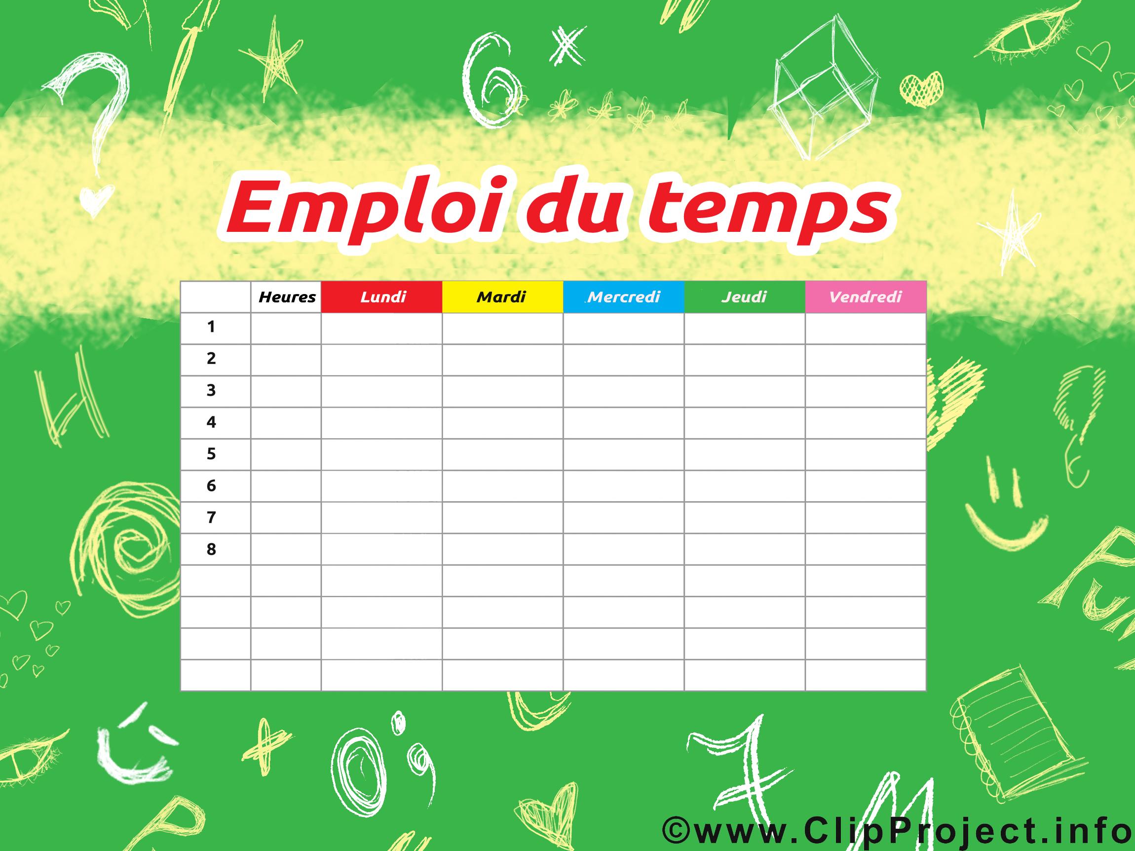 Illustration horaires de cours gratuite – École clipart