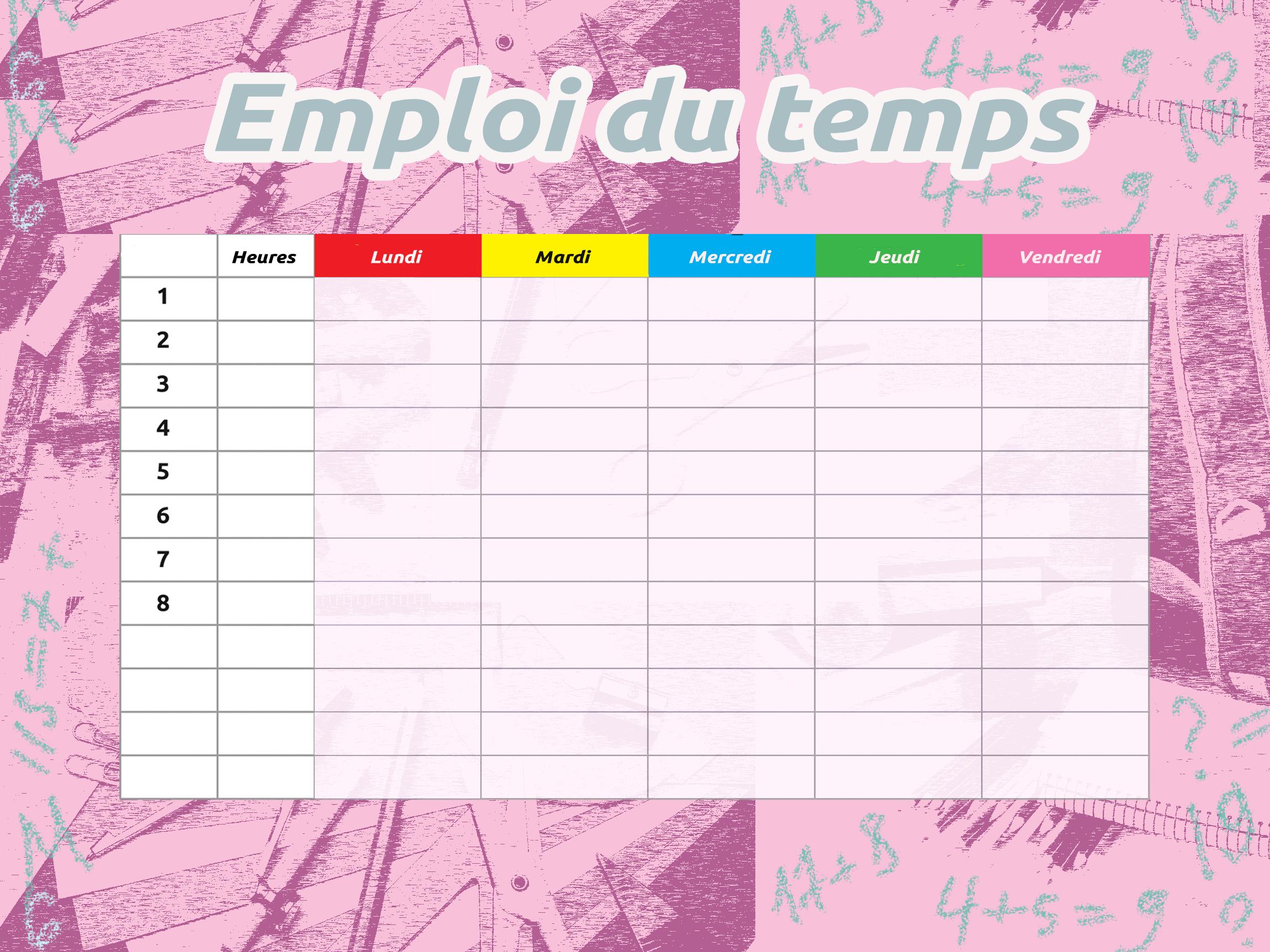 Image gratuite horaires de cours – École cliparts
