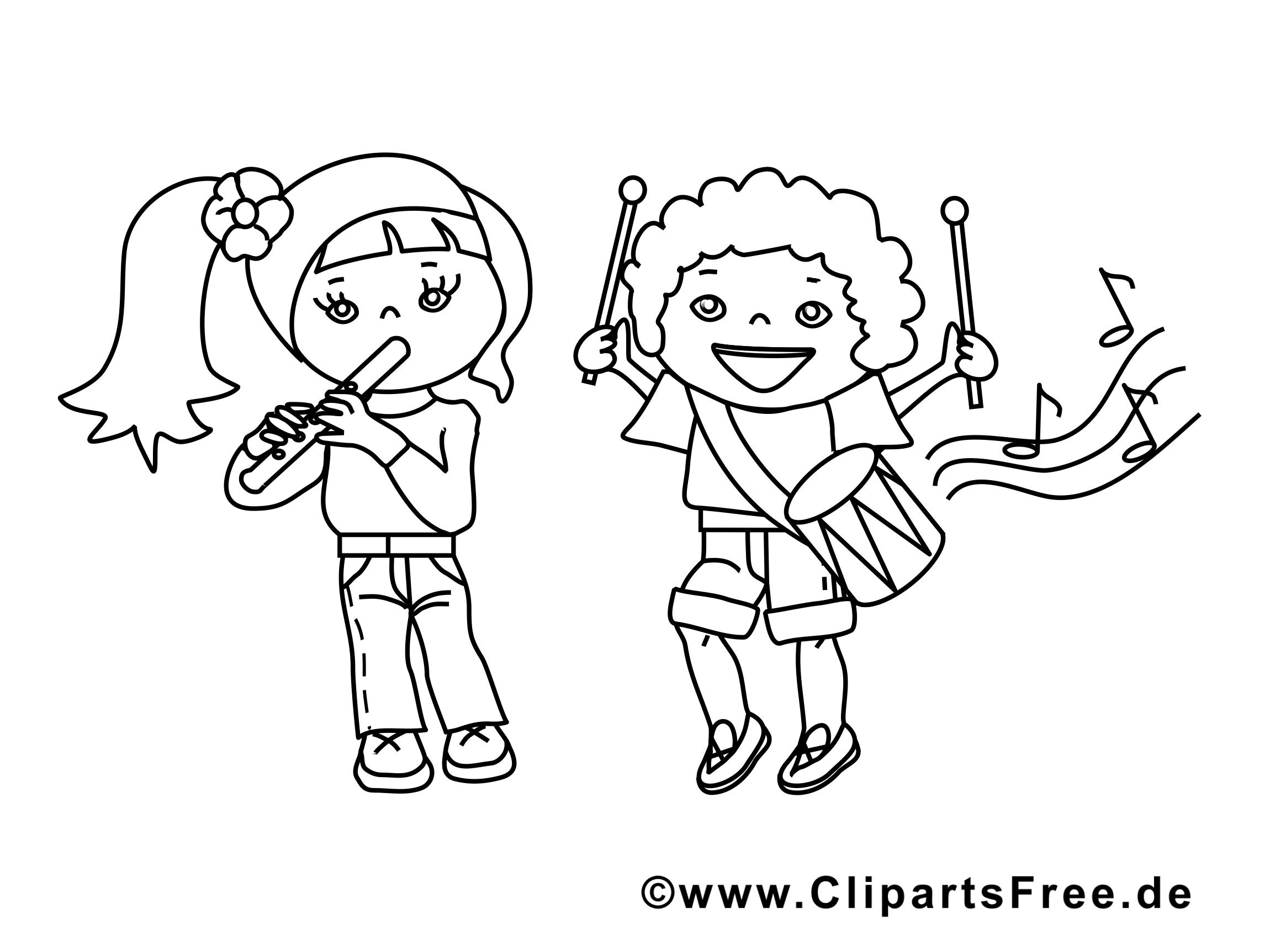 Musiciens clip art à colorier – Enfants images gratuites