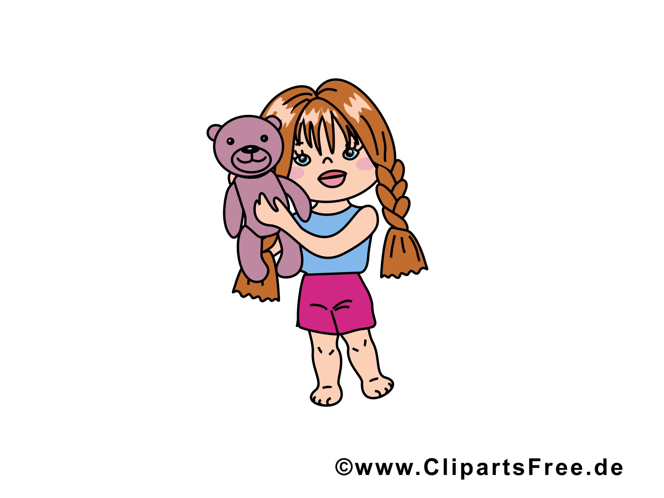 Ours en peluche dessin - Fille cliparts à télécharger