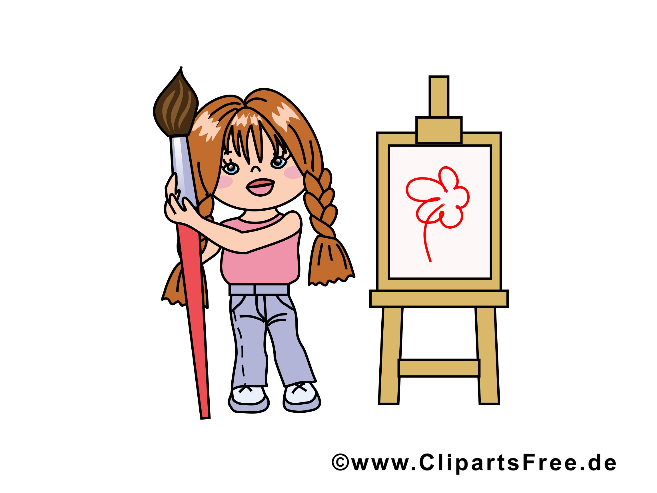 Peintre dessin - Petite fille cliparts à télécharger