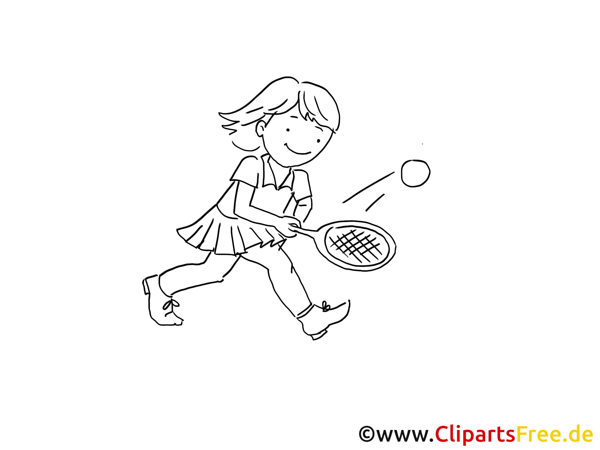 Tennis clip arts à imprimer - Fille illustrations