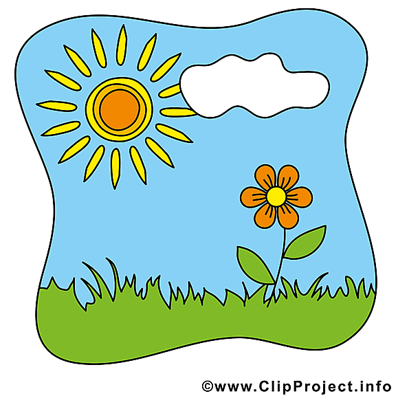 Top Dessin nuage fleur soleil – Été clip arts gratuits - Été dessin  TW07
