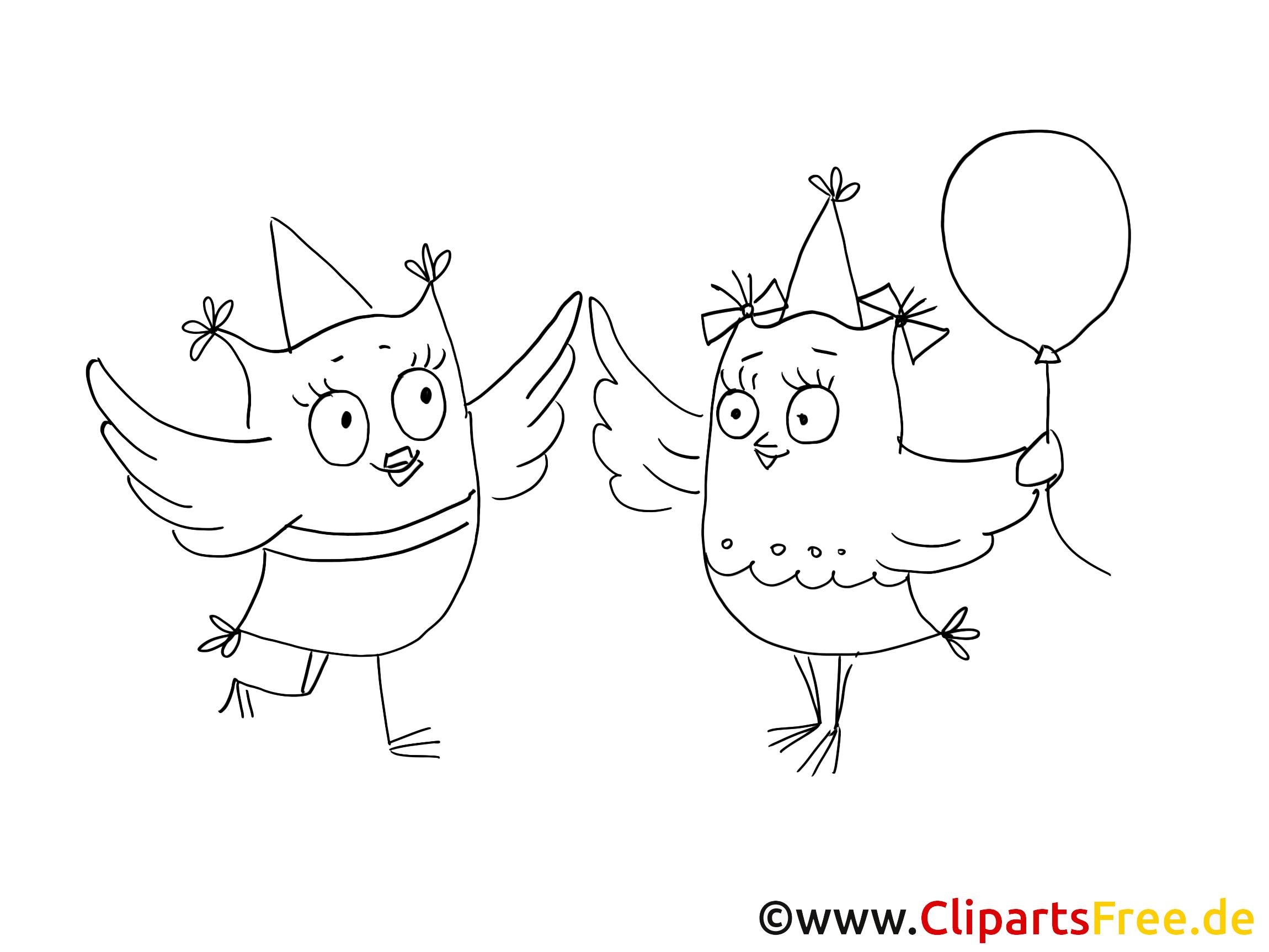 Hiboux dessins à colorier - Soiree clipart gratuit