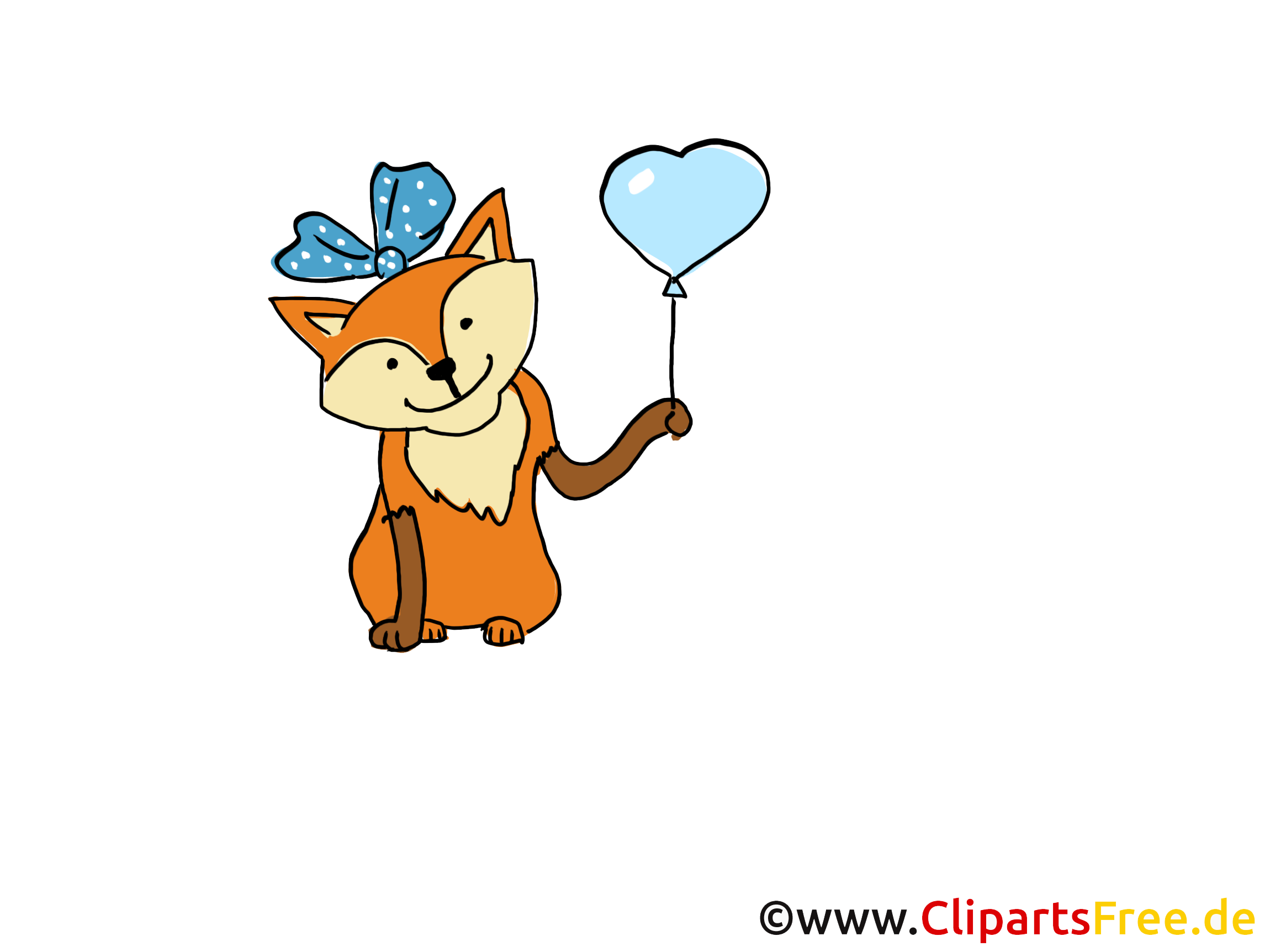 Renard ballon image gratuite - Fête illustration