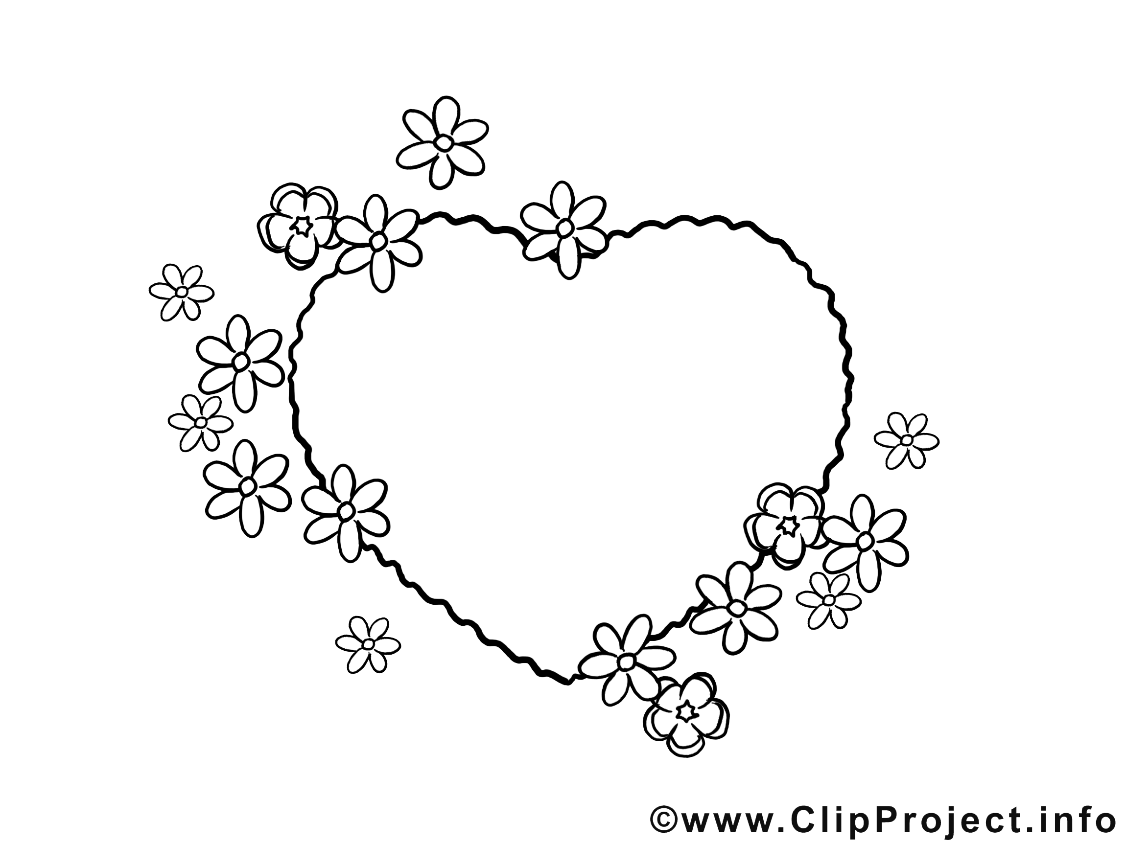 Coloriage coeur clip art – Fête des Mères gratuite
