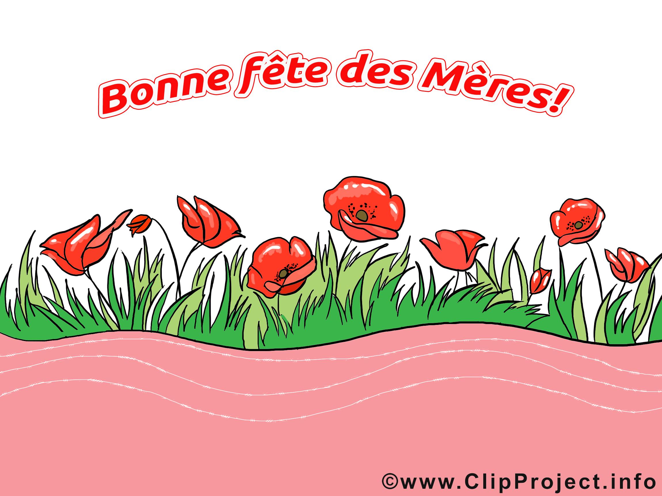 Très Fête des Mères illustration fleurs gratuite - Fête des Mères  SY46