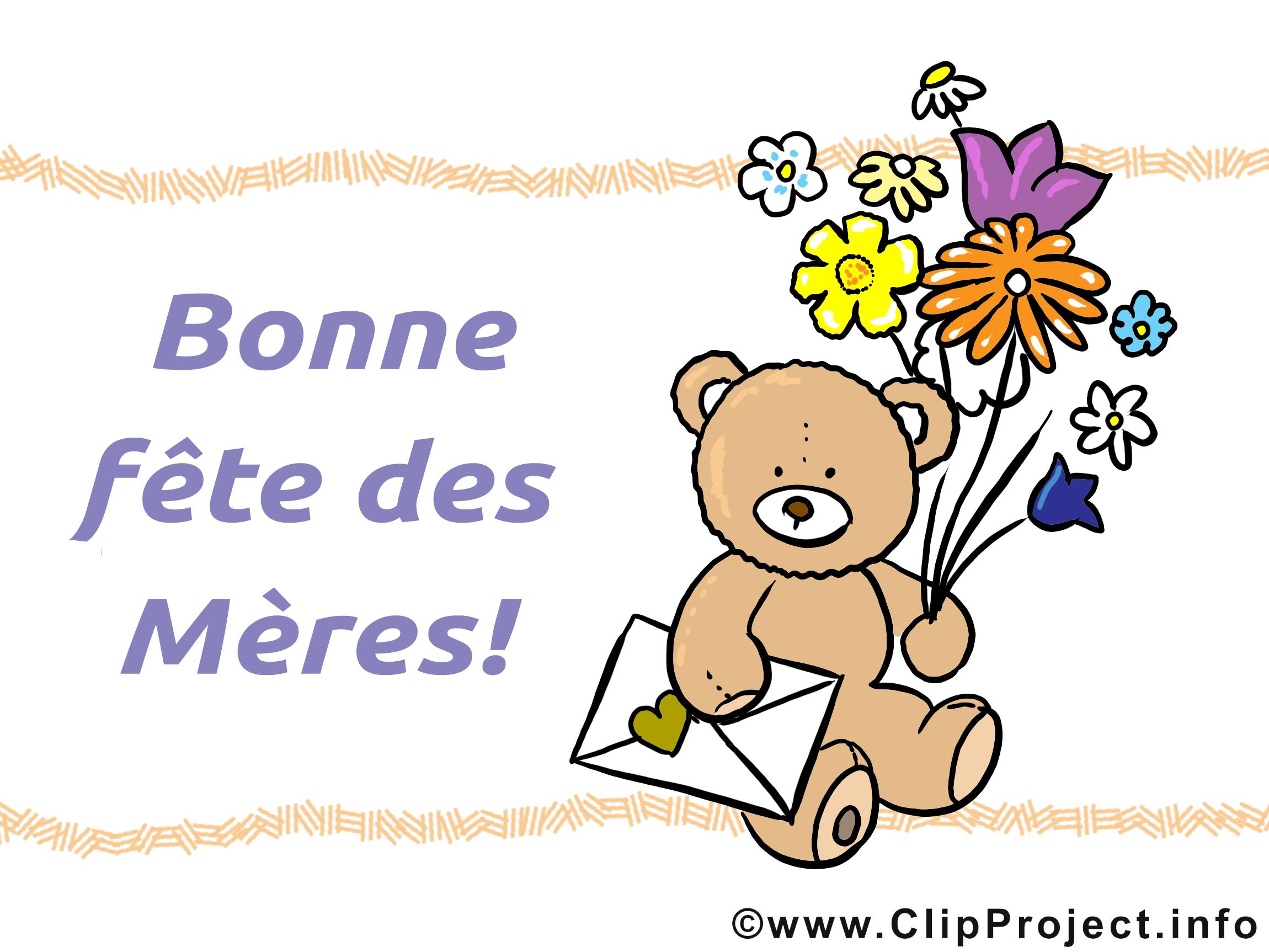 Ours en peluche dessin – Fête des Mères clipart