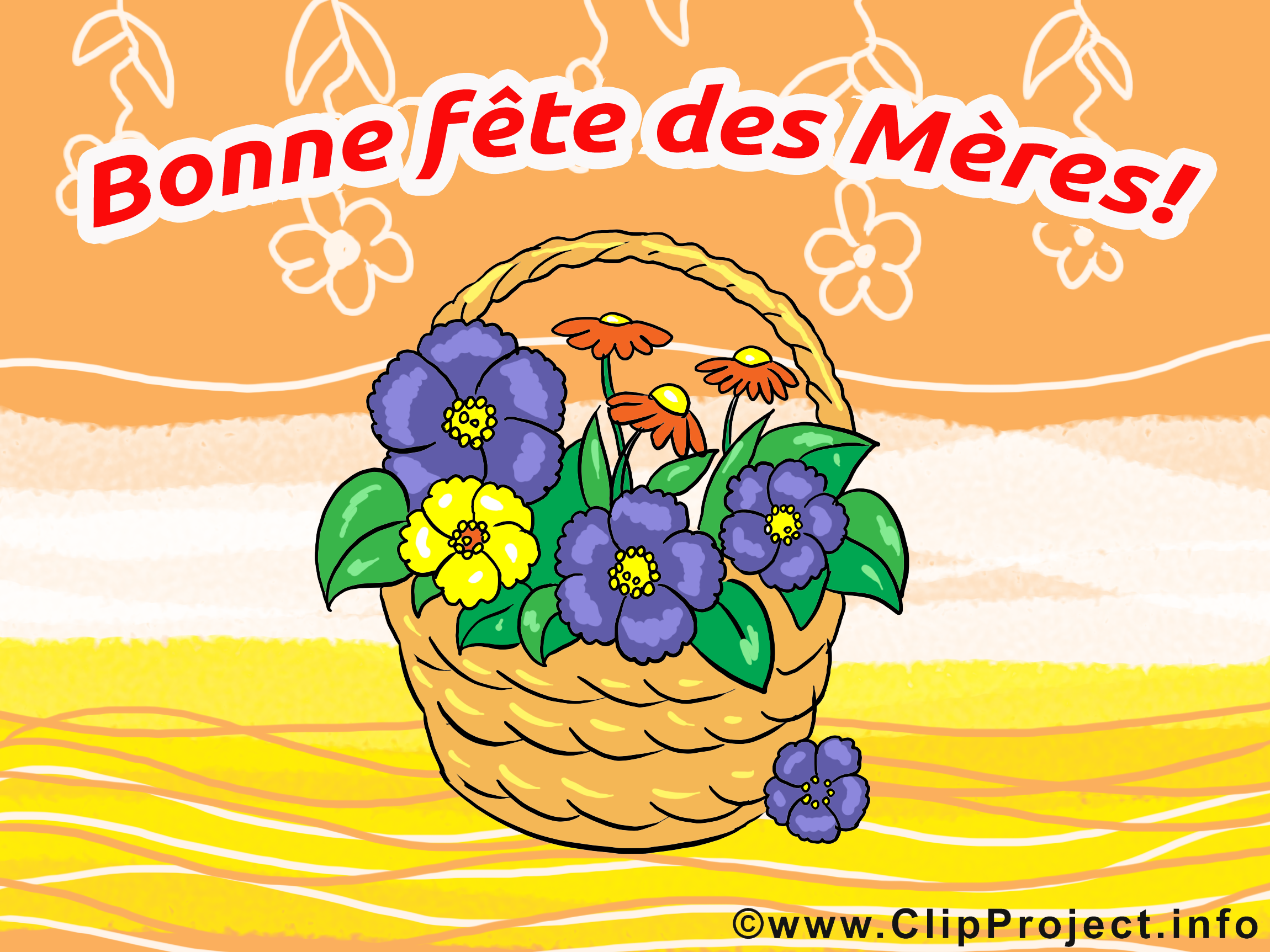 Panier fête des Mères illustration à télécharger gratuite