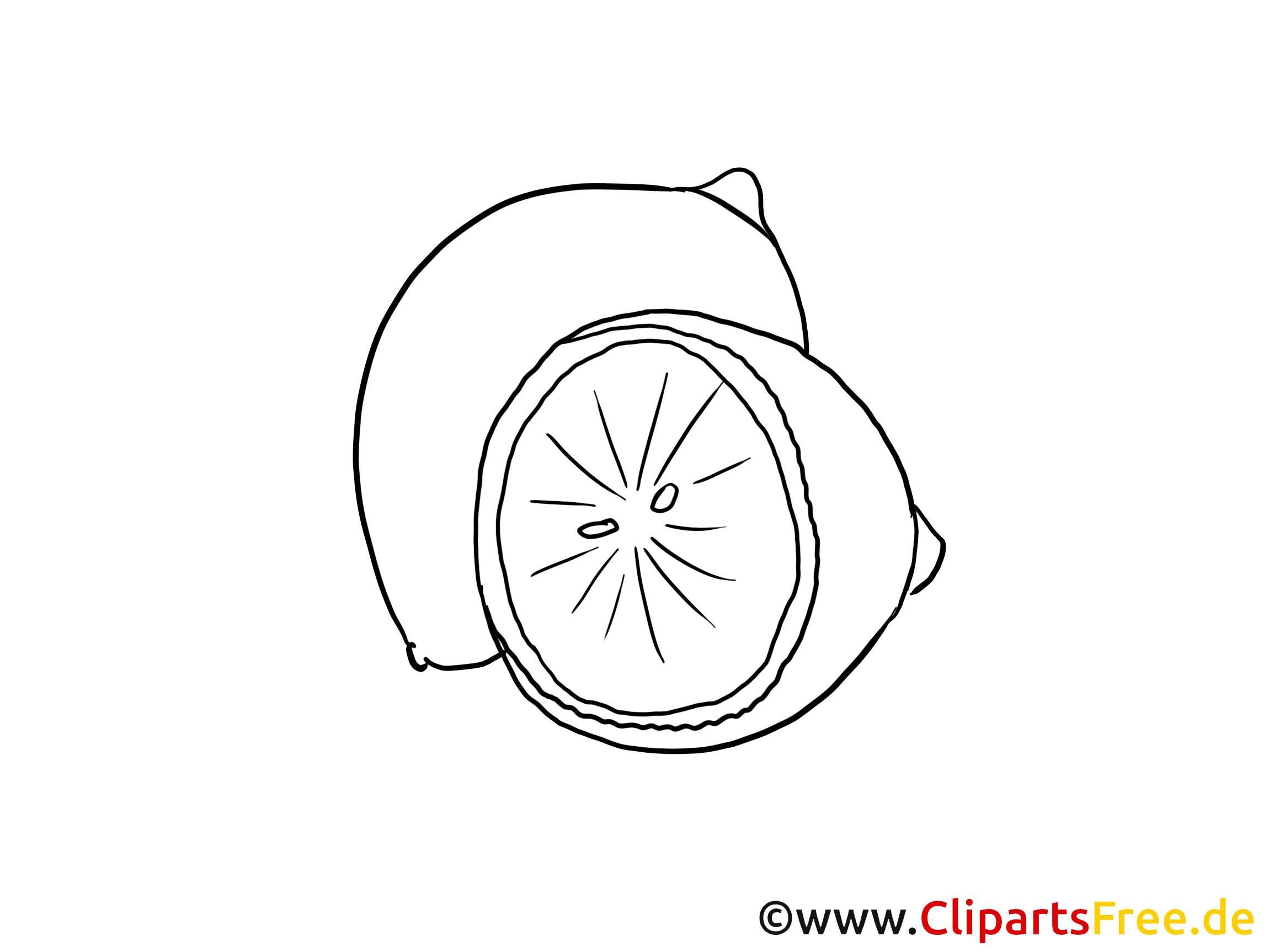 Citron dessin à colorier - Fruits clip arts gratuits