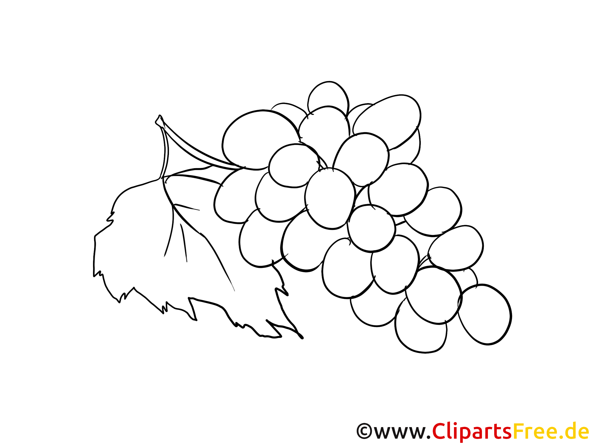 Raisin clipart à colorier - Fruits images