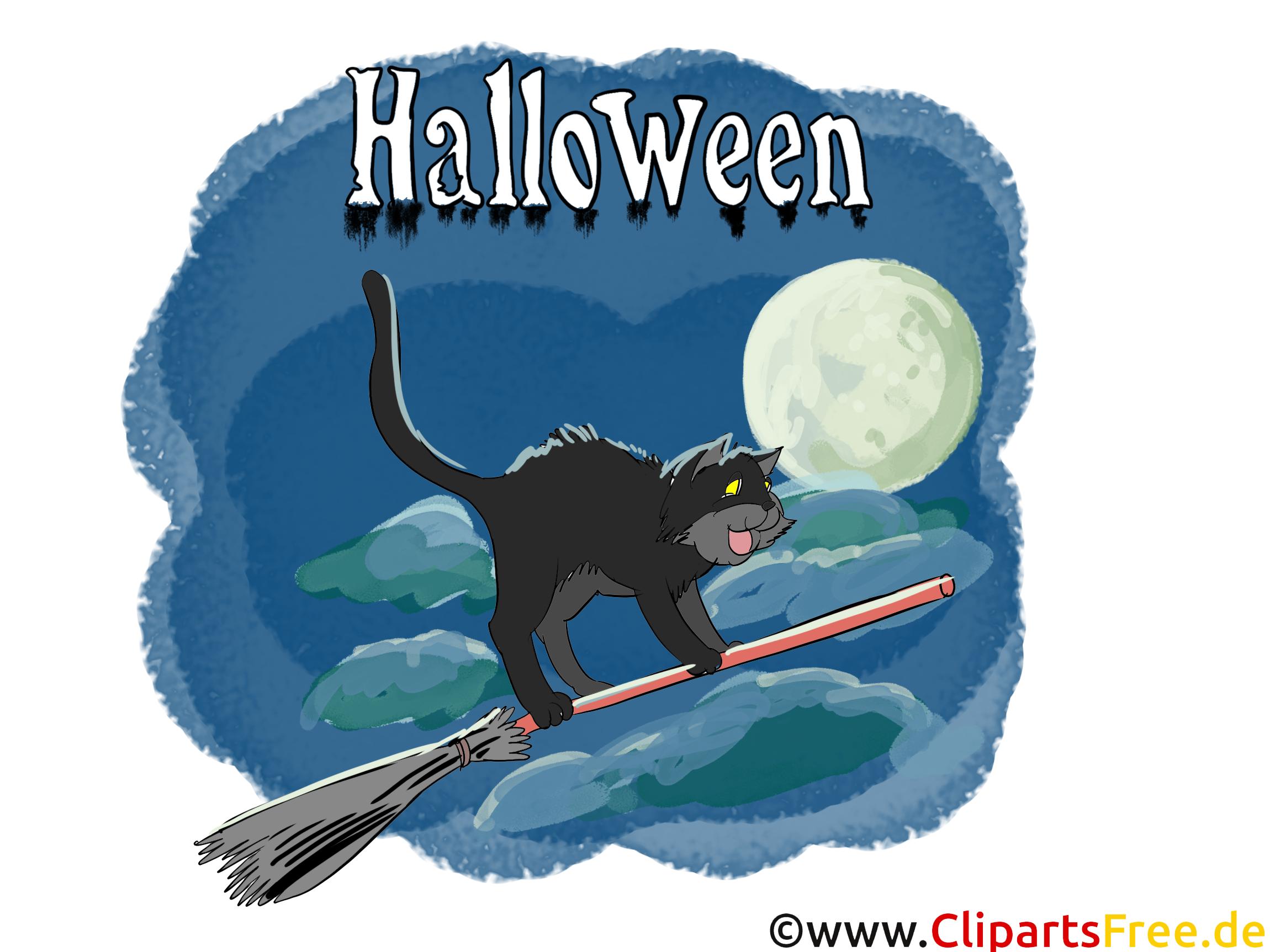 Chat balai dessin - Halloween à télécharger