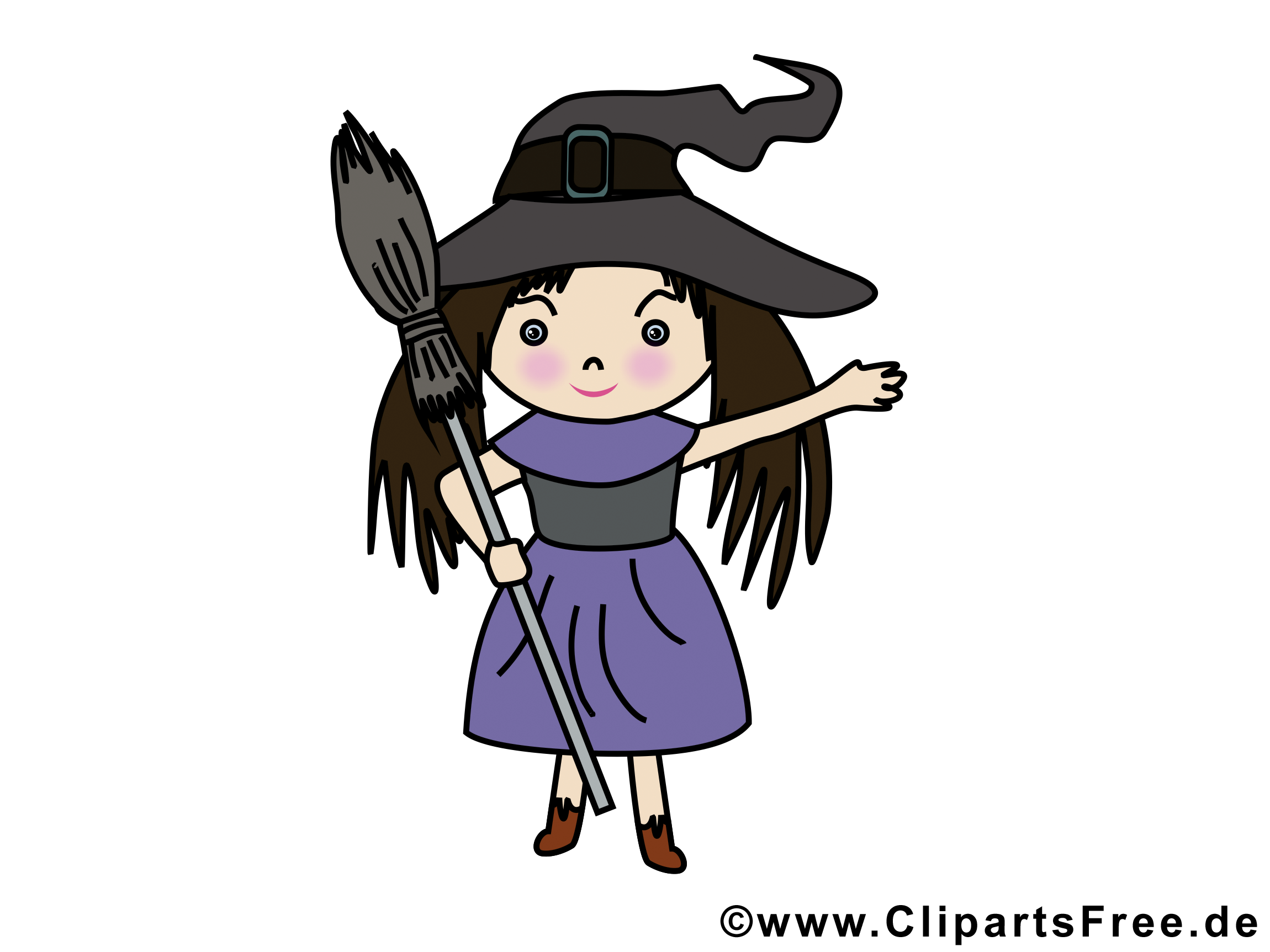 Fille sorcière image gratuite - Halloween illustration