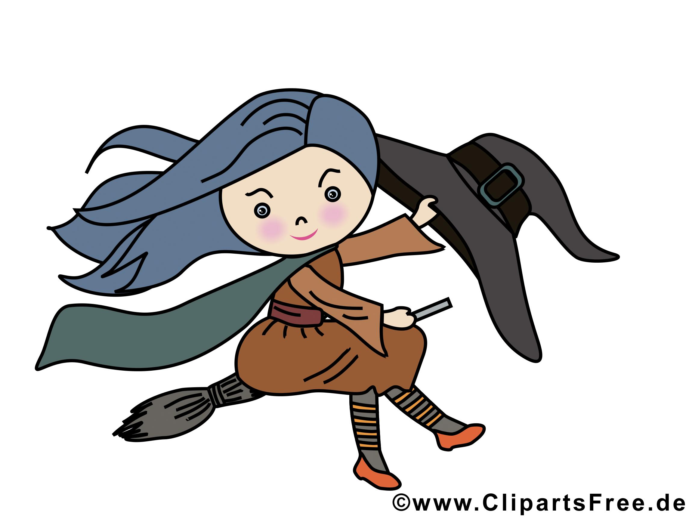 Halloween clip arts gratuits - Sorcière illustrations