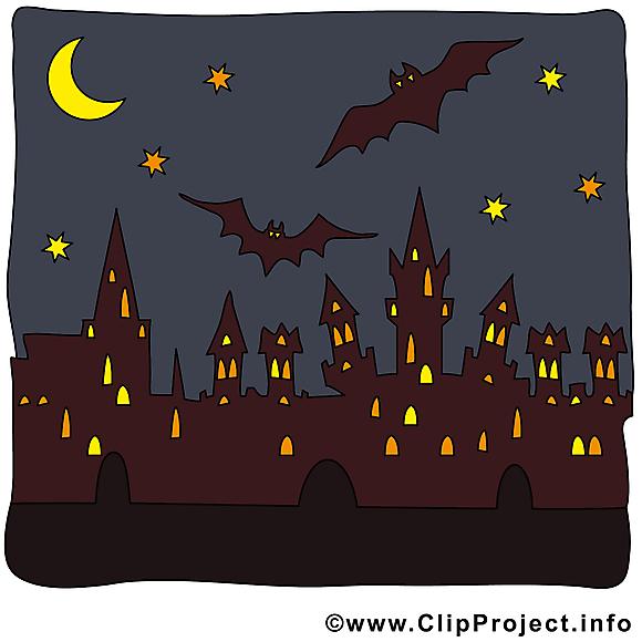 Image ville nuit - Halloween images cliparts