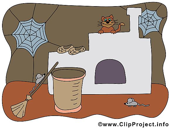 Maison Baba Yaga illustration - Halloween clipart