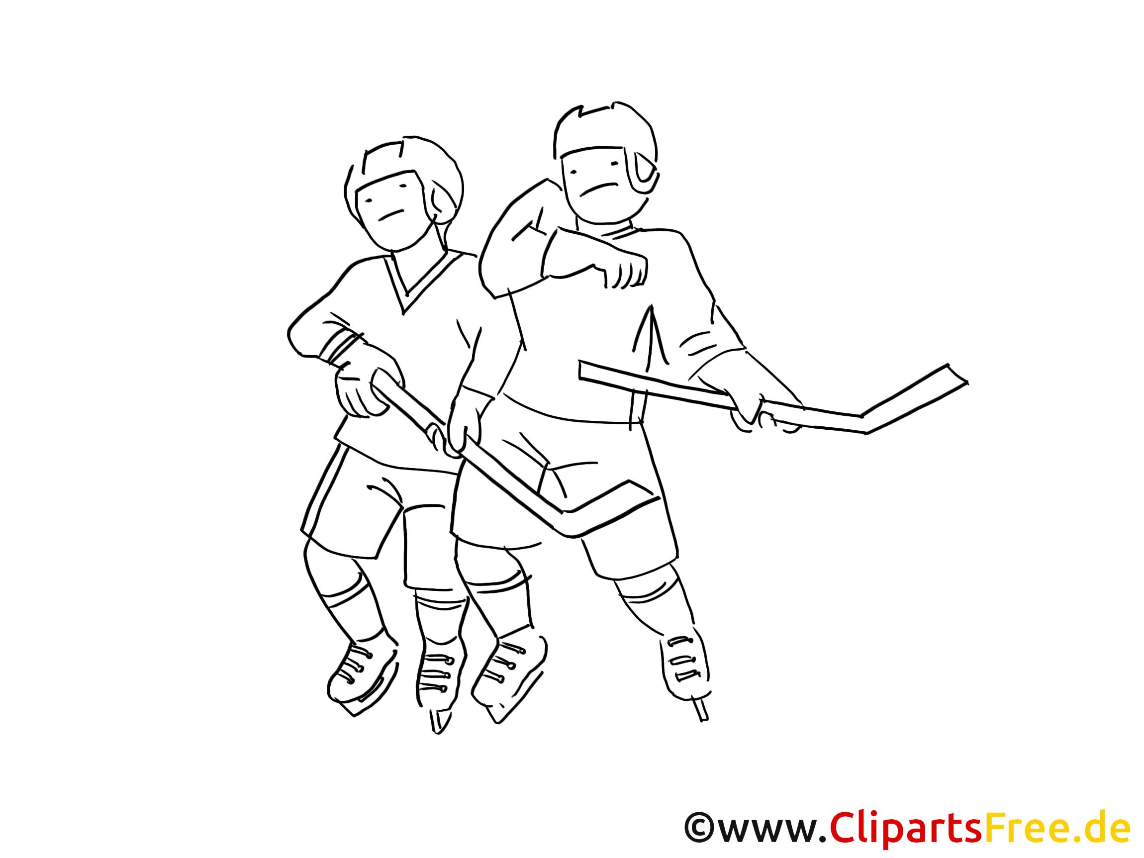 Coloriage hockeyeurs - Hockey clip art gratuit