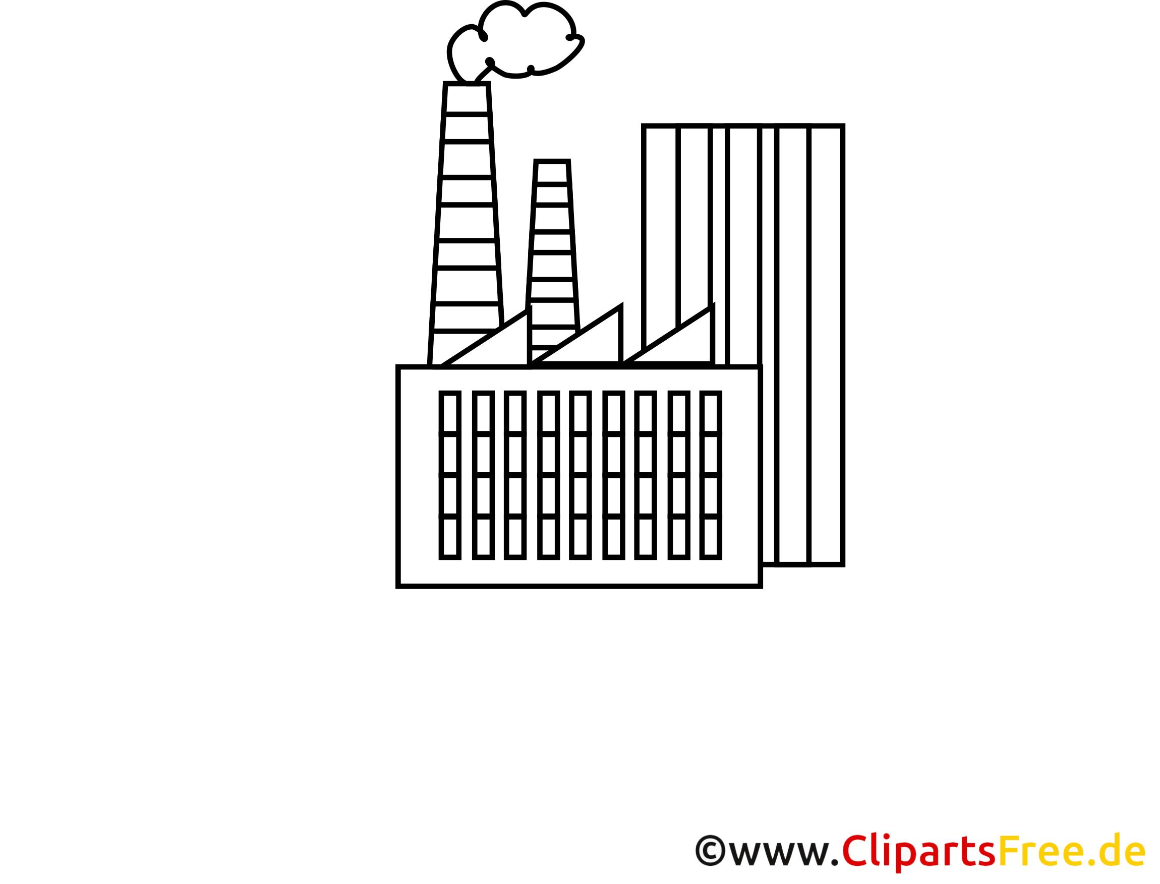Clip arts gratuits fabrique à colorier - Industrie illustrations