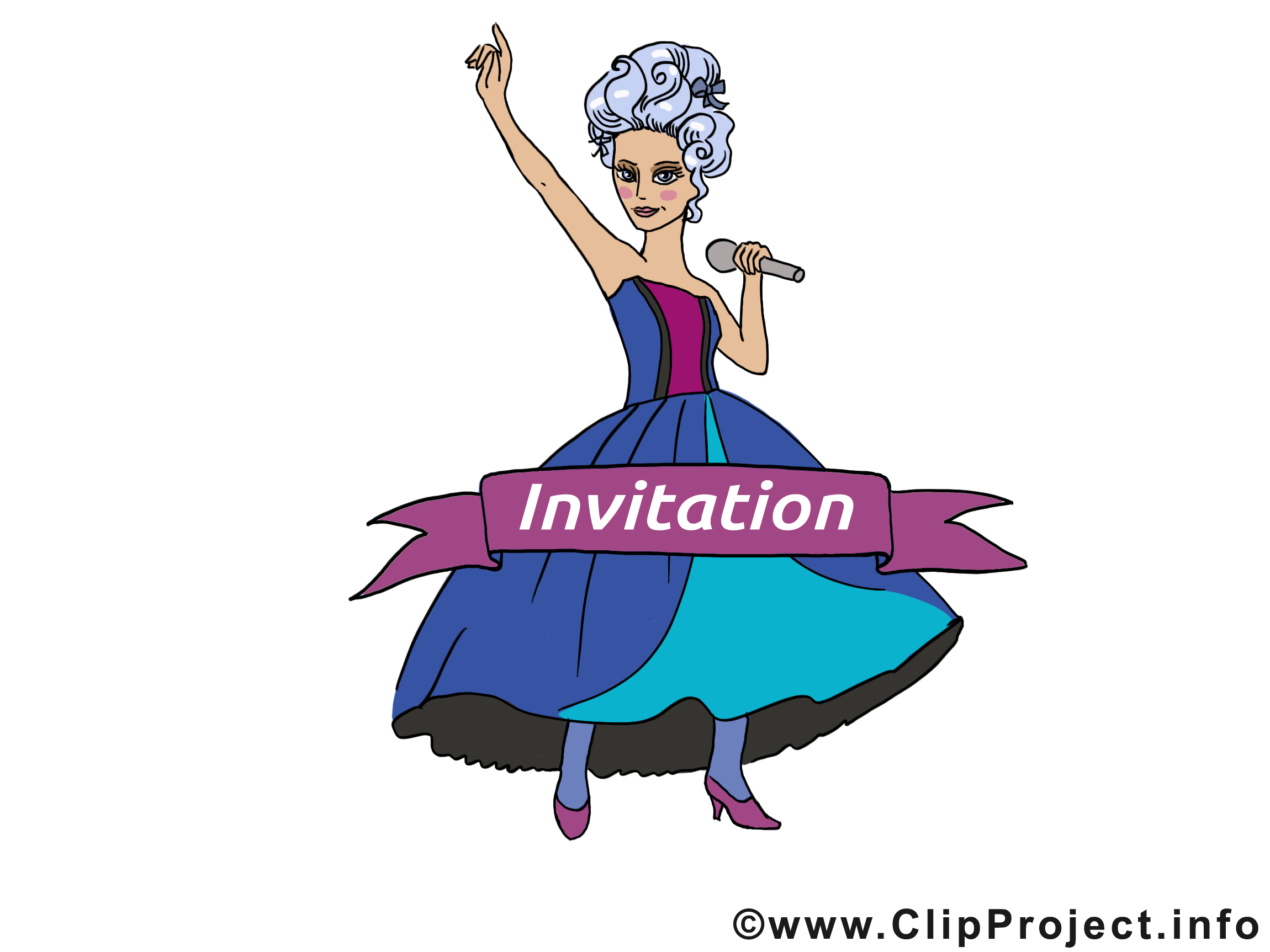 Chanteuse clip arts gratuits - Invitation illustrations