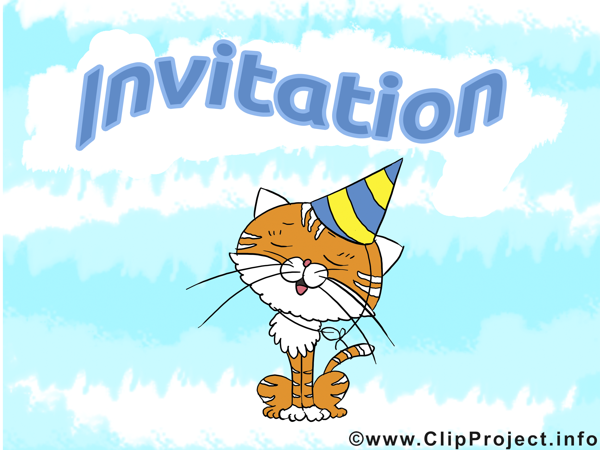 Chat clip art gratuit - Invitation dessin