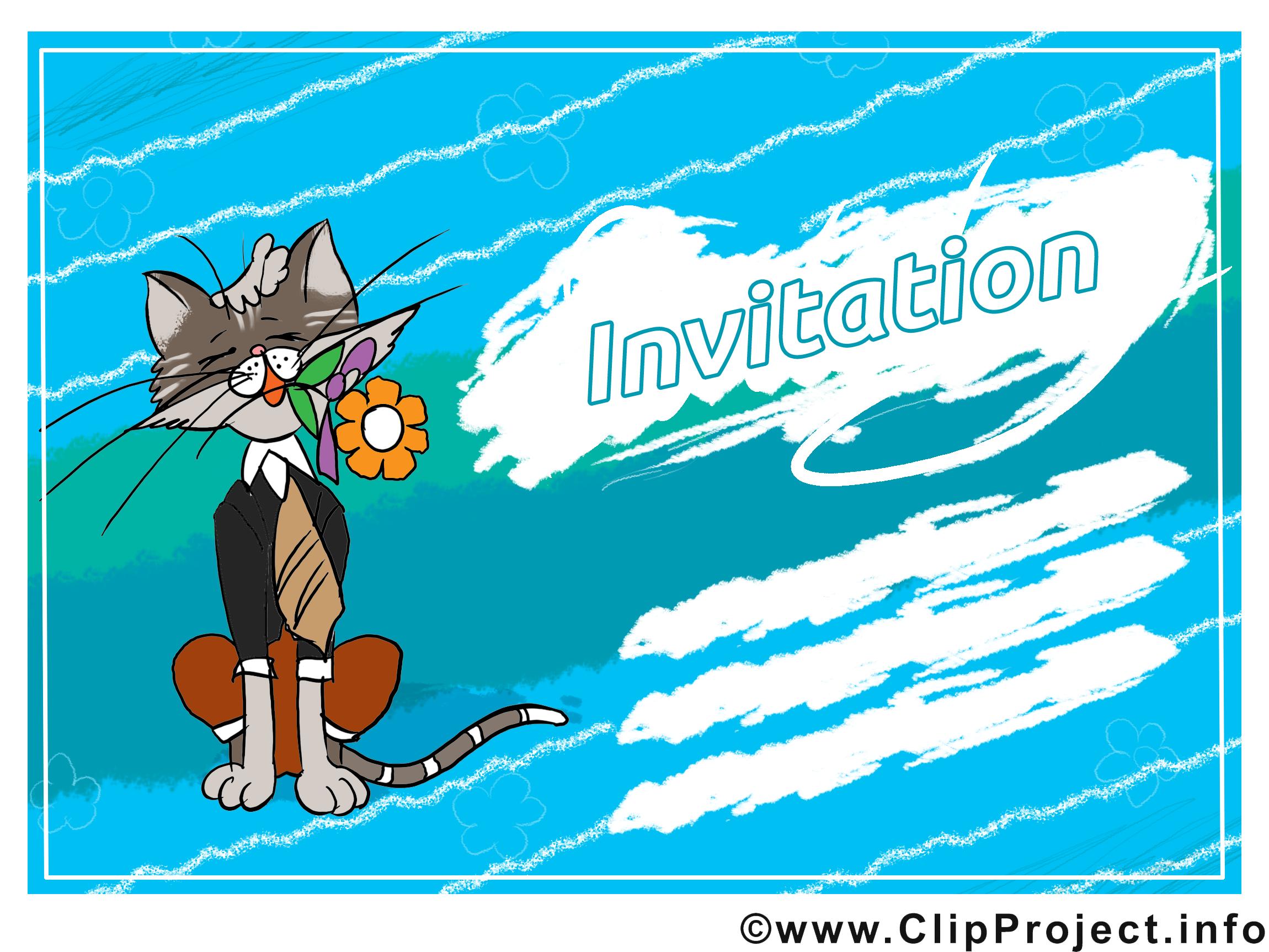 Chat clip arts gratuits - Invitation illustrations