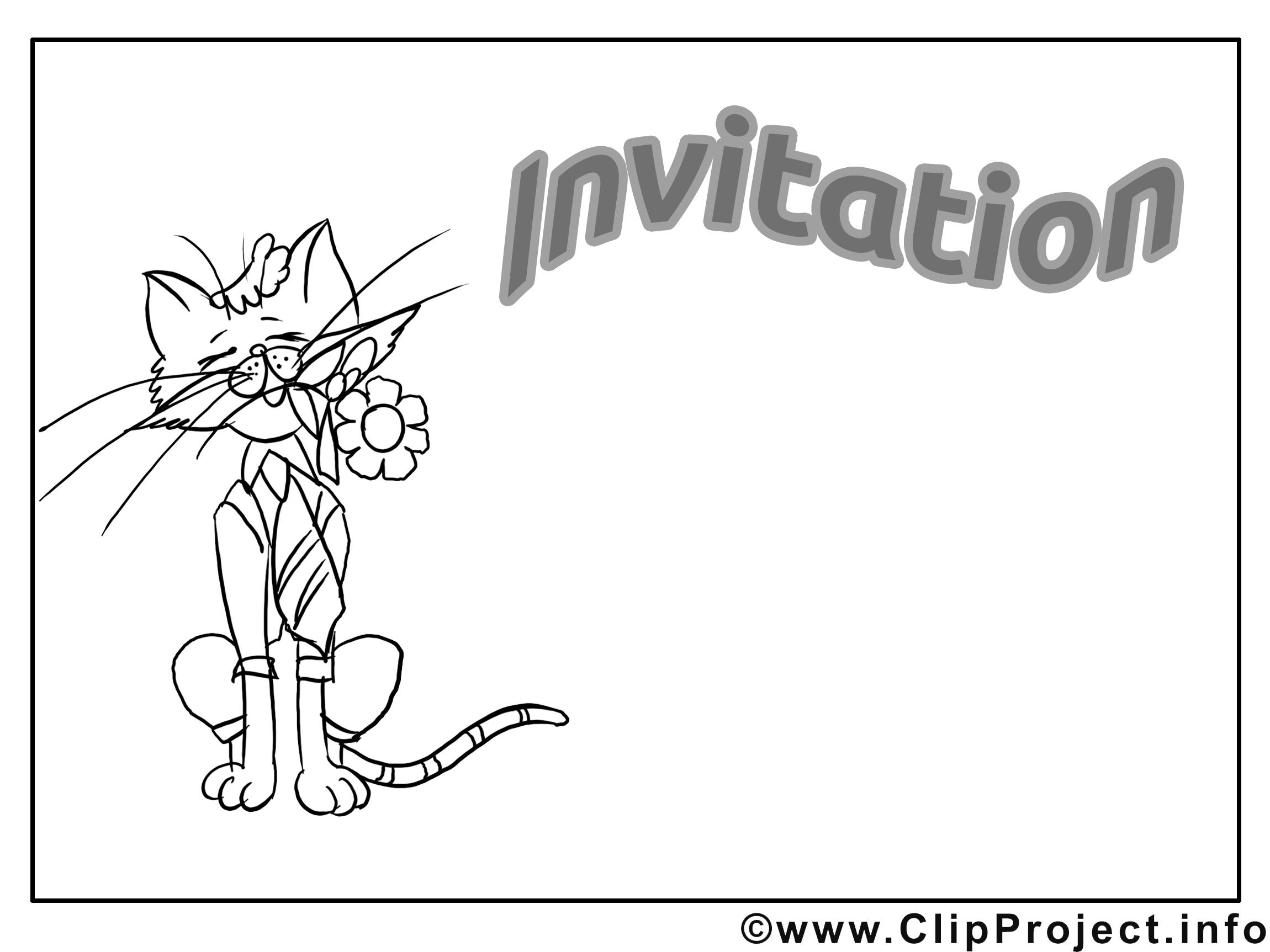 Chat images à colorier - Invitation clip art gratuit