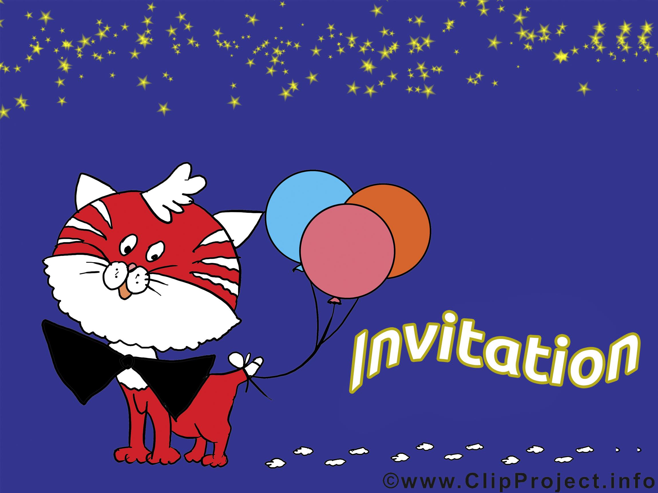Chat images gratuites – Invitation clipart