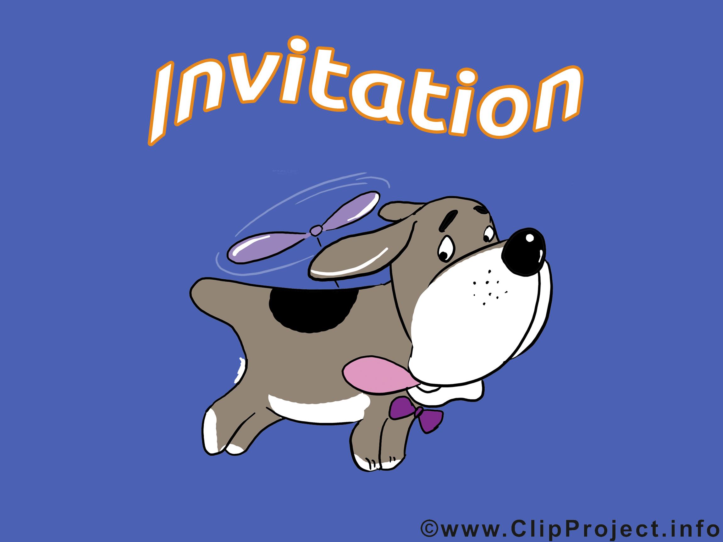 Chien dessin - Invitation clip arts gratuits