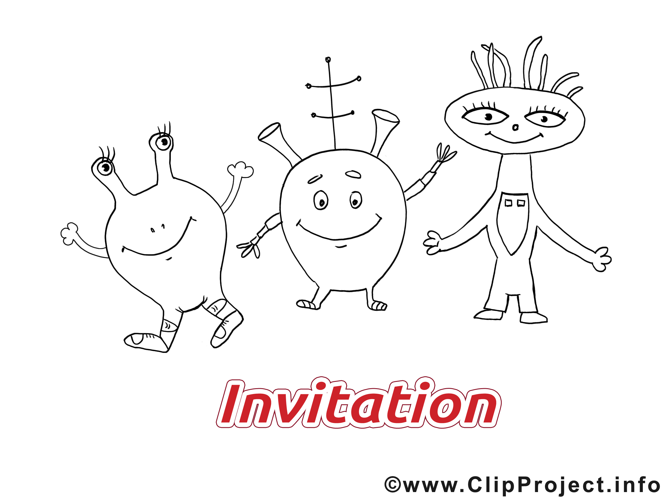 Coloriage extraterrestres - Invitation images cliparts