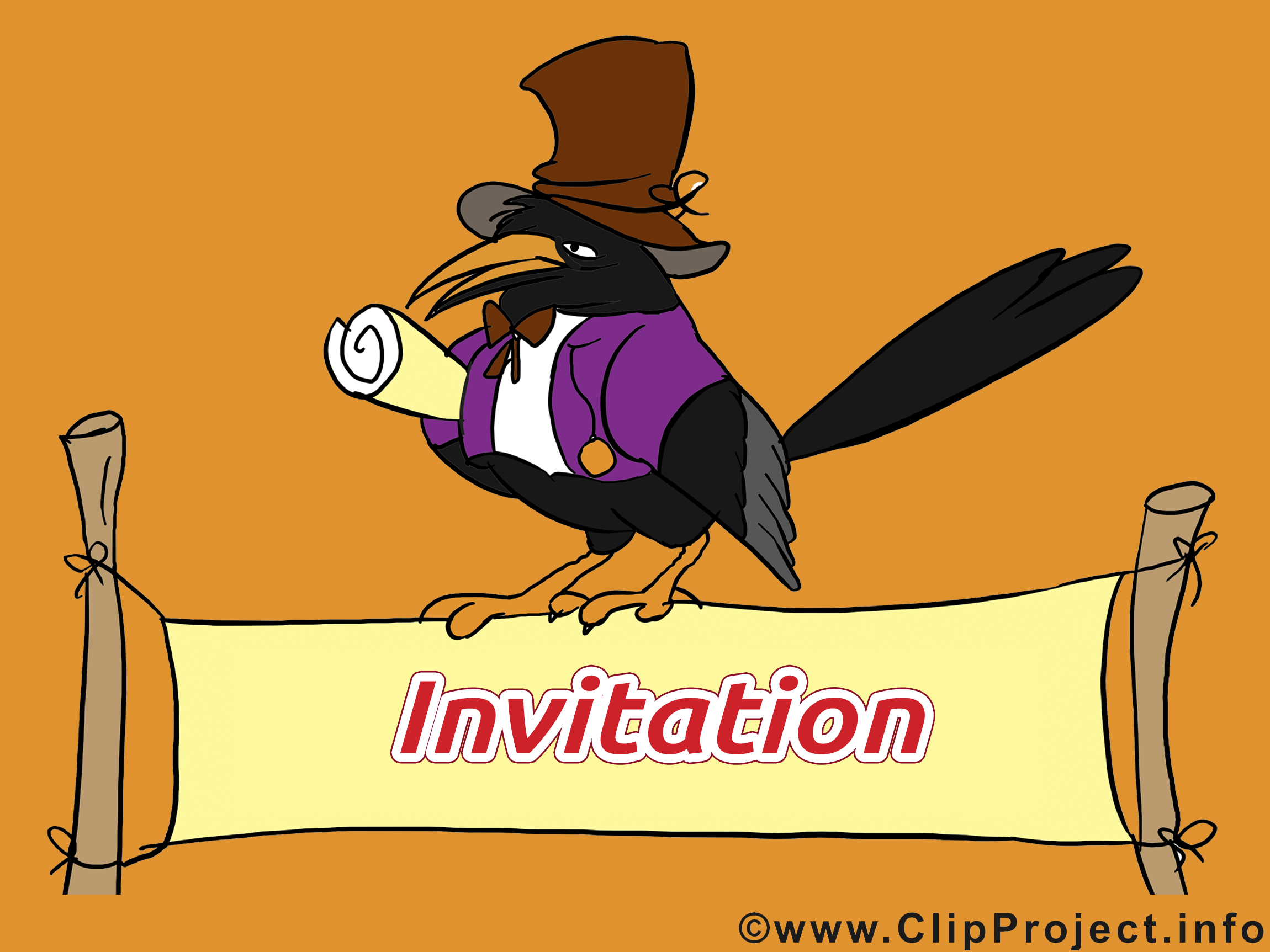 Corbeau dessins gratuits - Invitation clipart