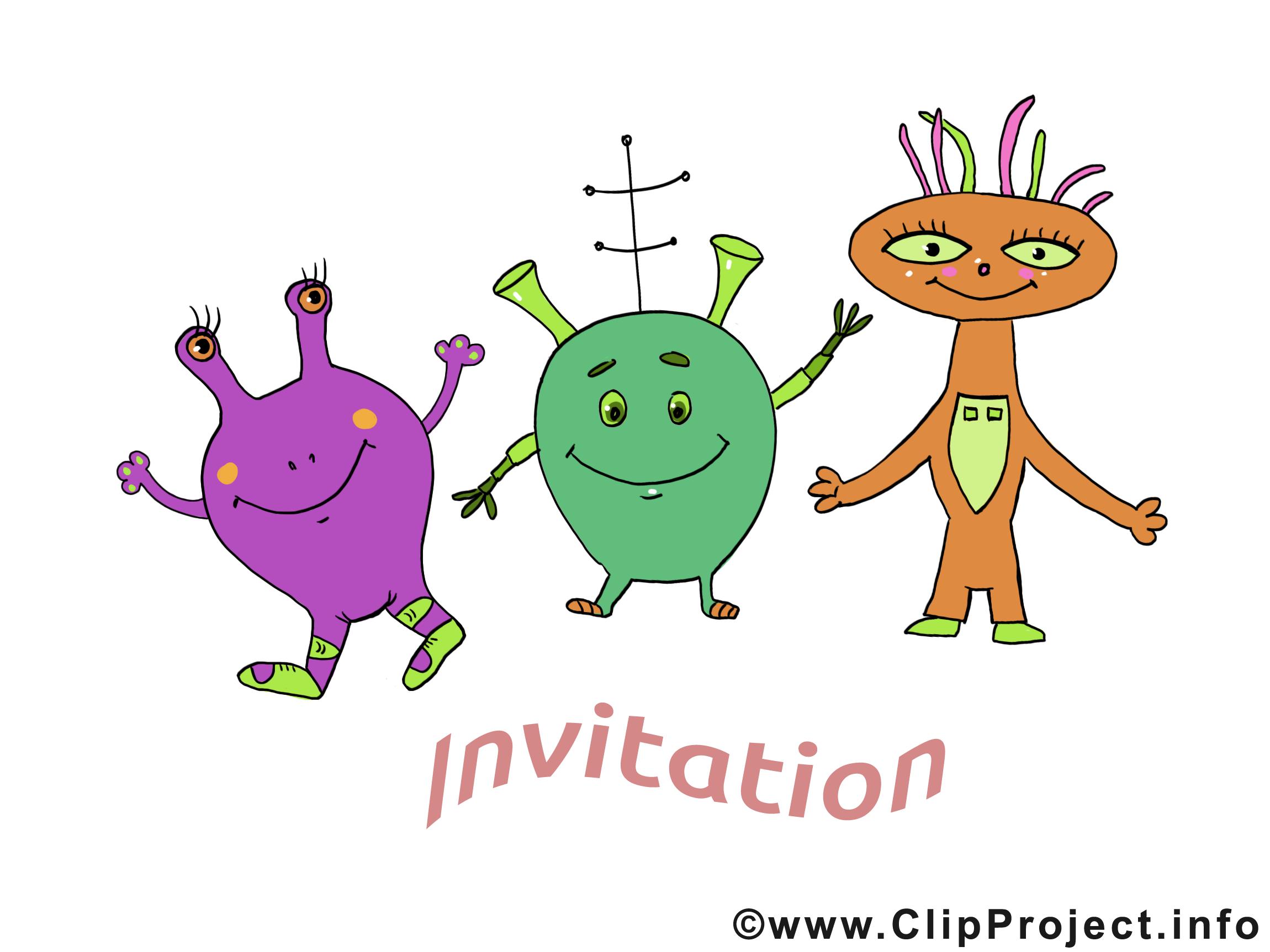 Extraterrestres image gratuite - Invitation illustration