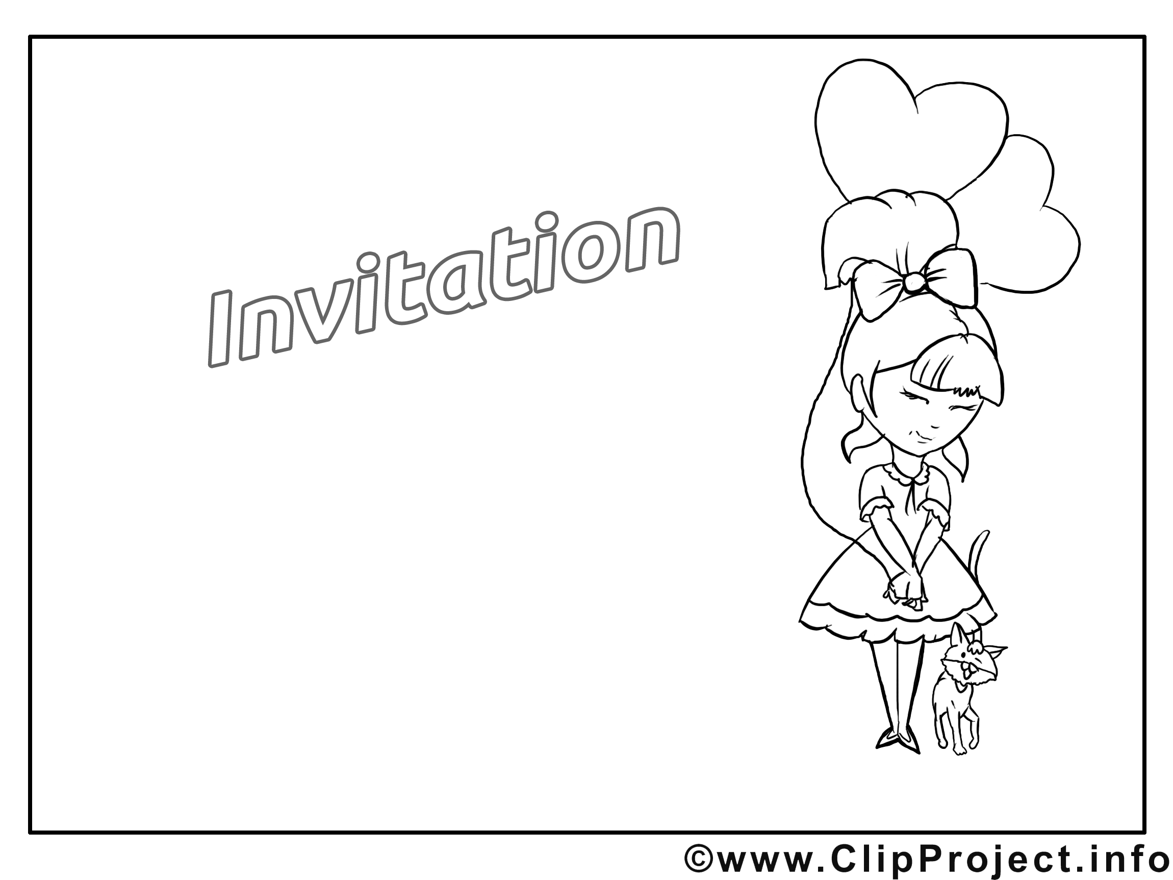 Fille dessin à colorier - Invitation à télécharger