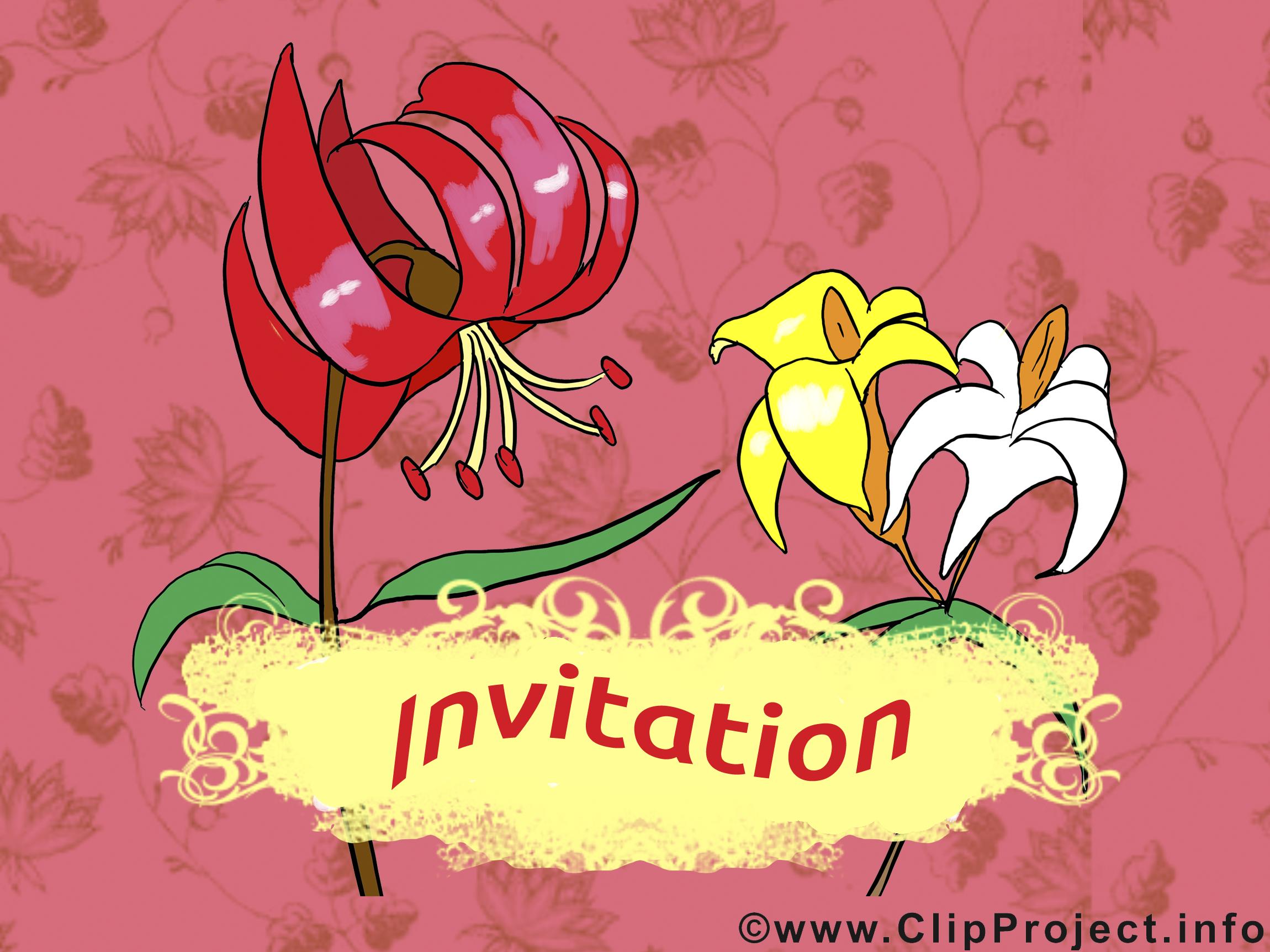 Fleurs clip art gratuit – Invitation images