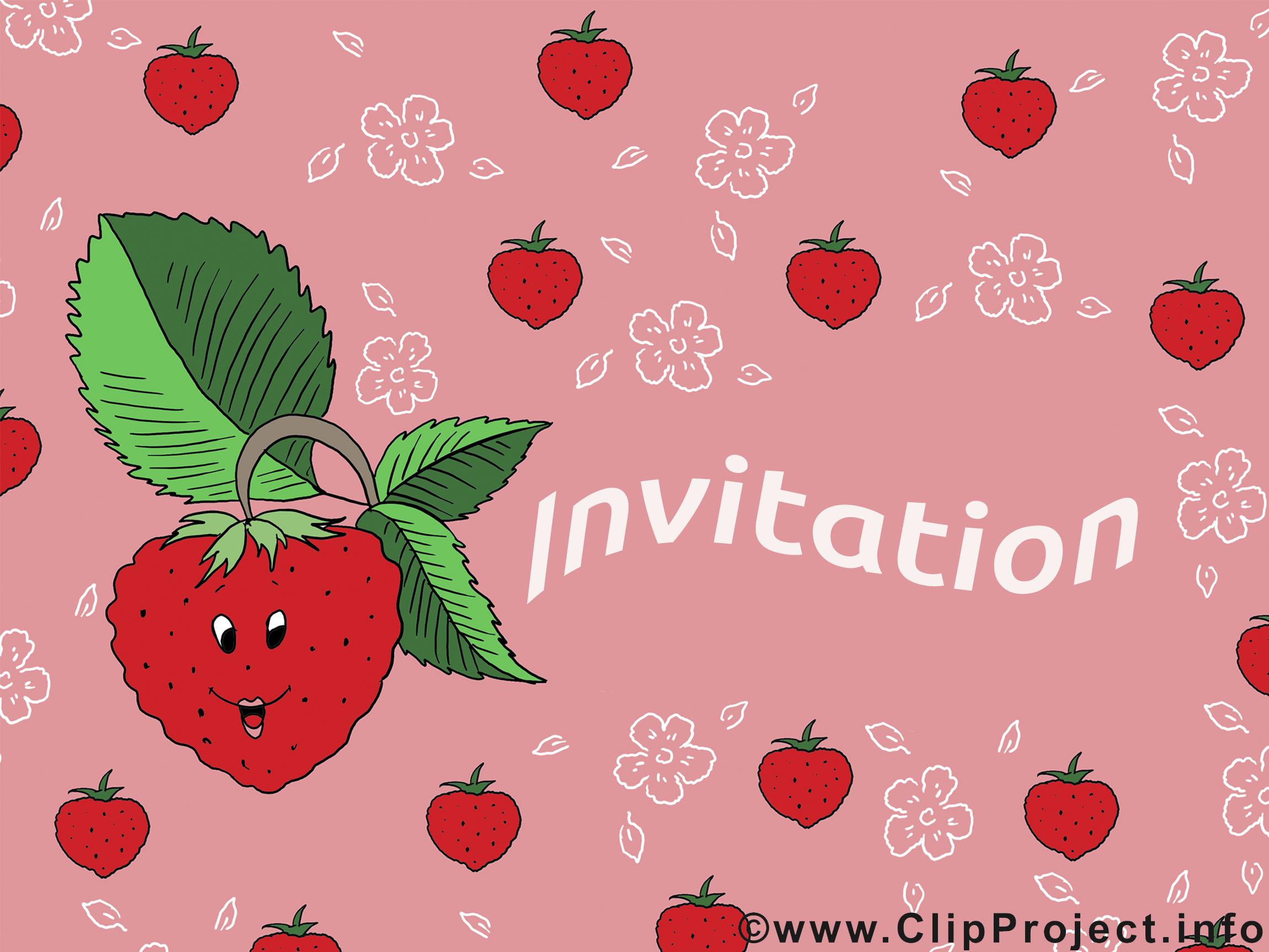 Fraise dessin - Invitation cliparts à télécharger
