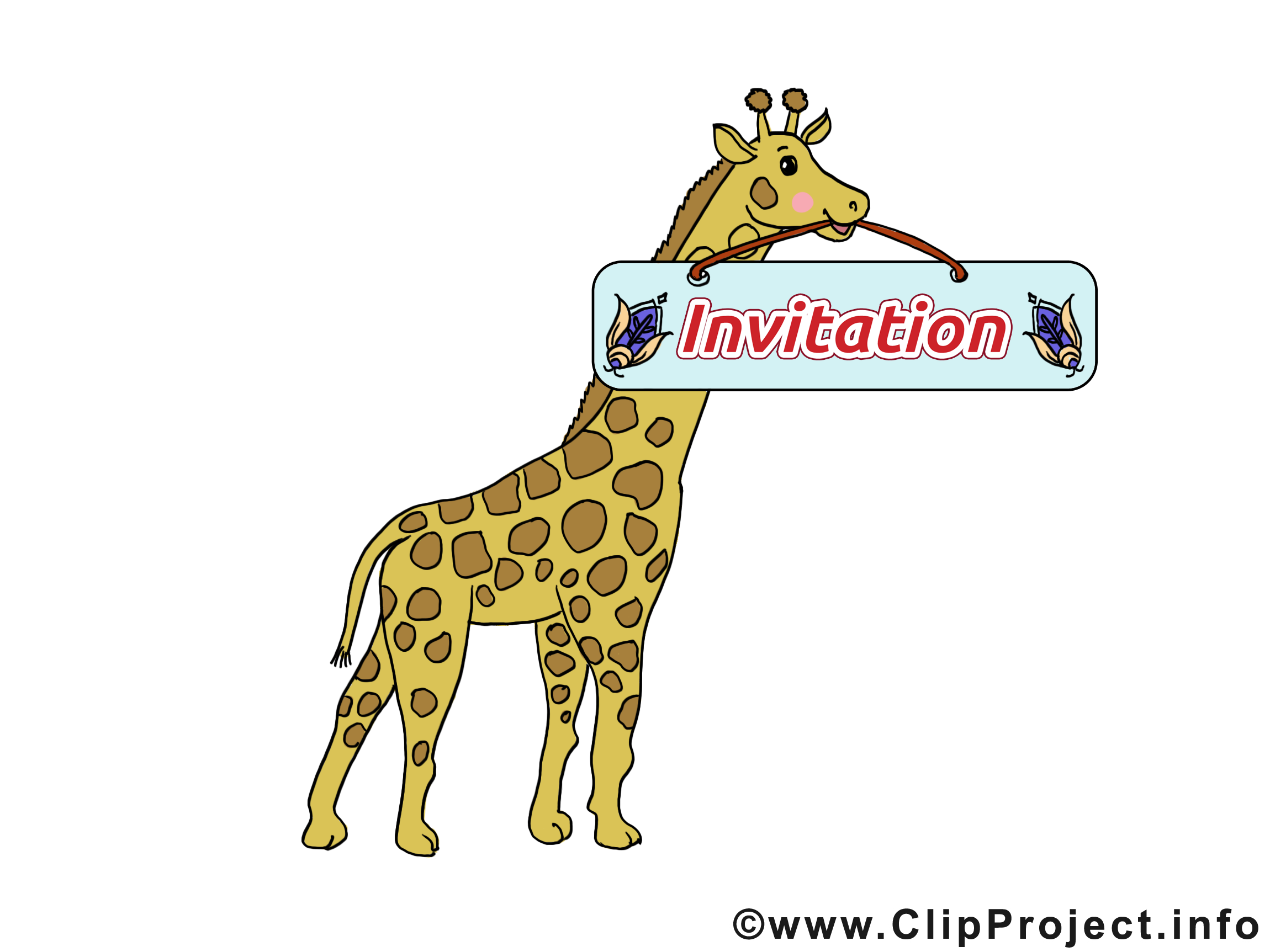 Girafe clip arts gratuits - Invitation illustrations