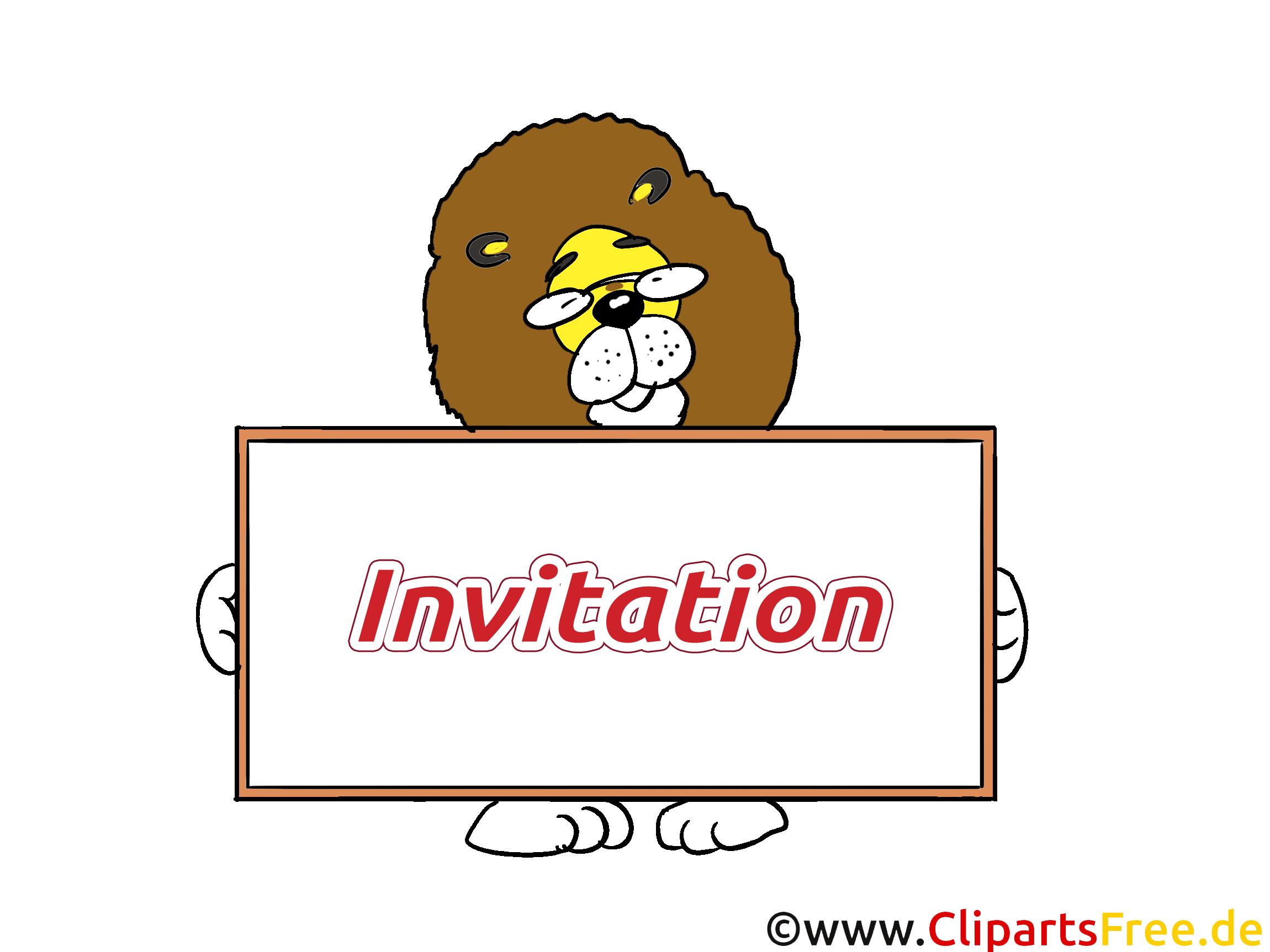 Lion illustration gratuite - Invitation clipart