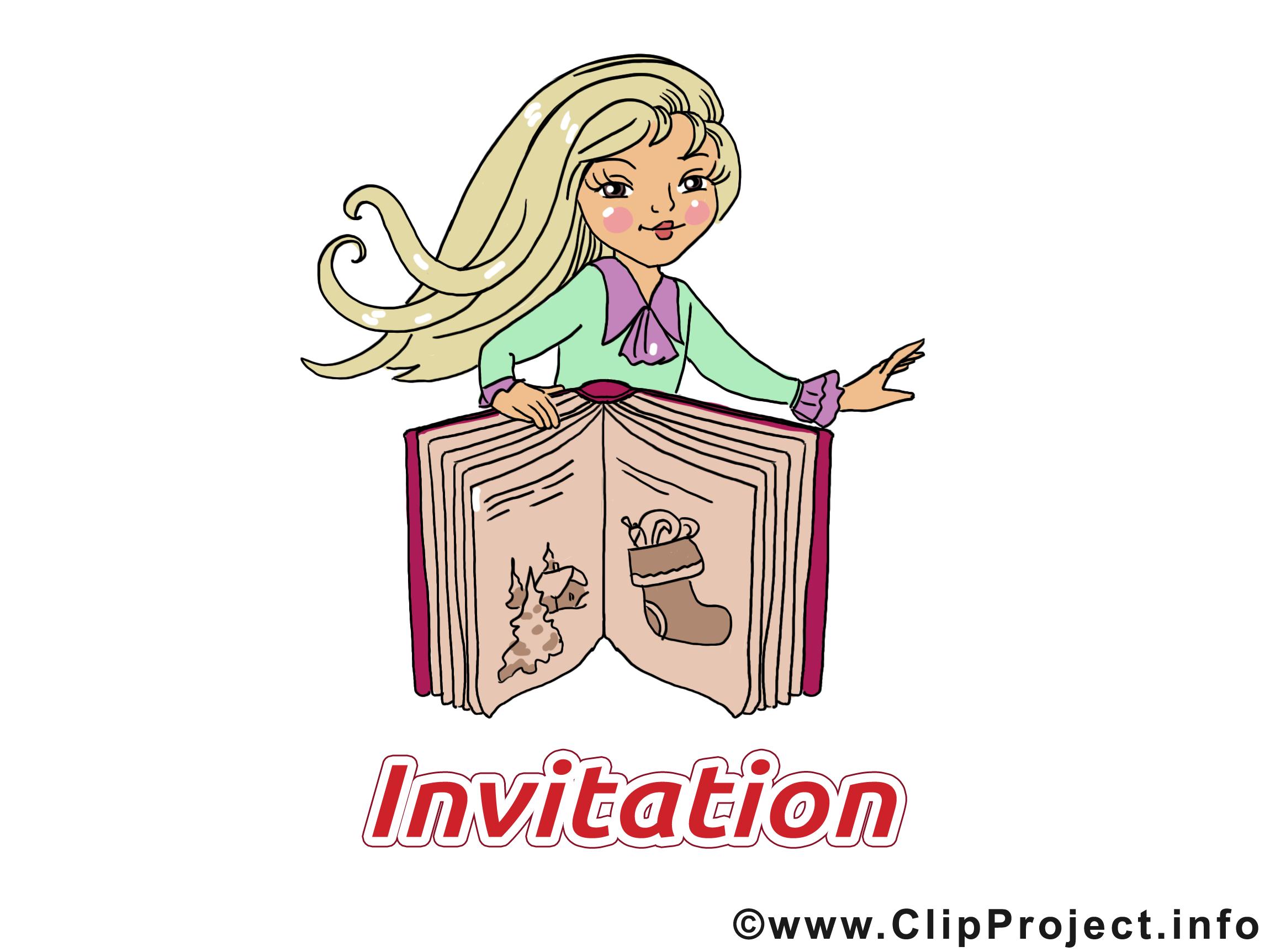 Livre blonde illustration - Invitation images