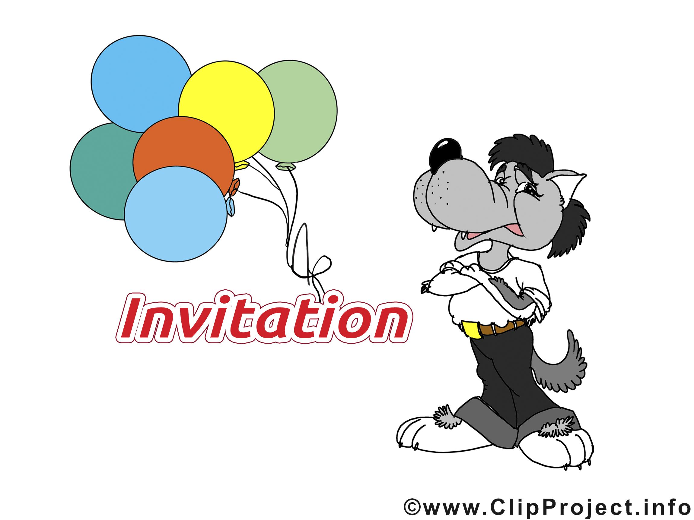 Loup dessin - Invitation cliparts à télécharger