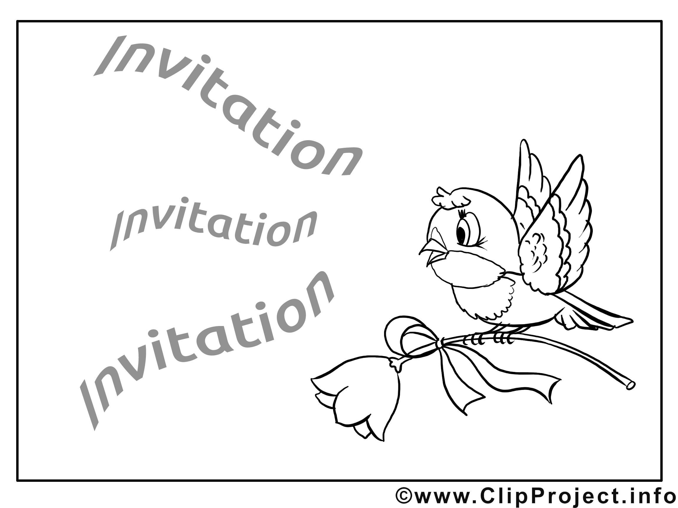 Oiseau dessin à imprimer - Invitation image
