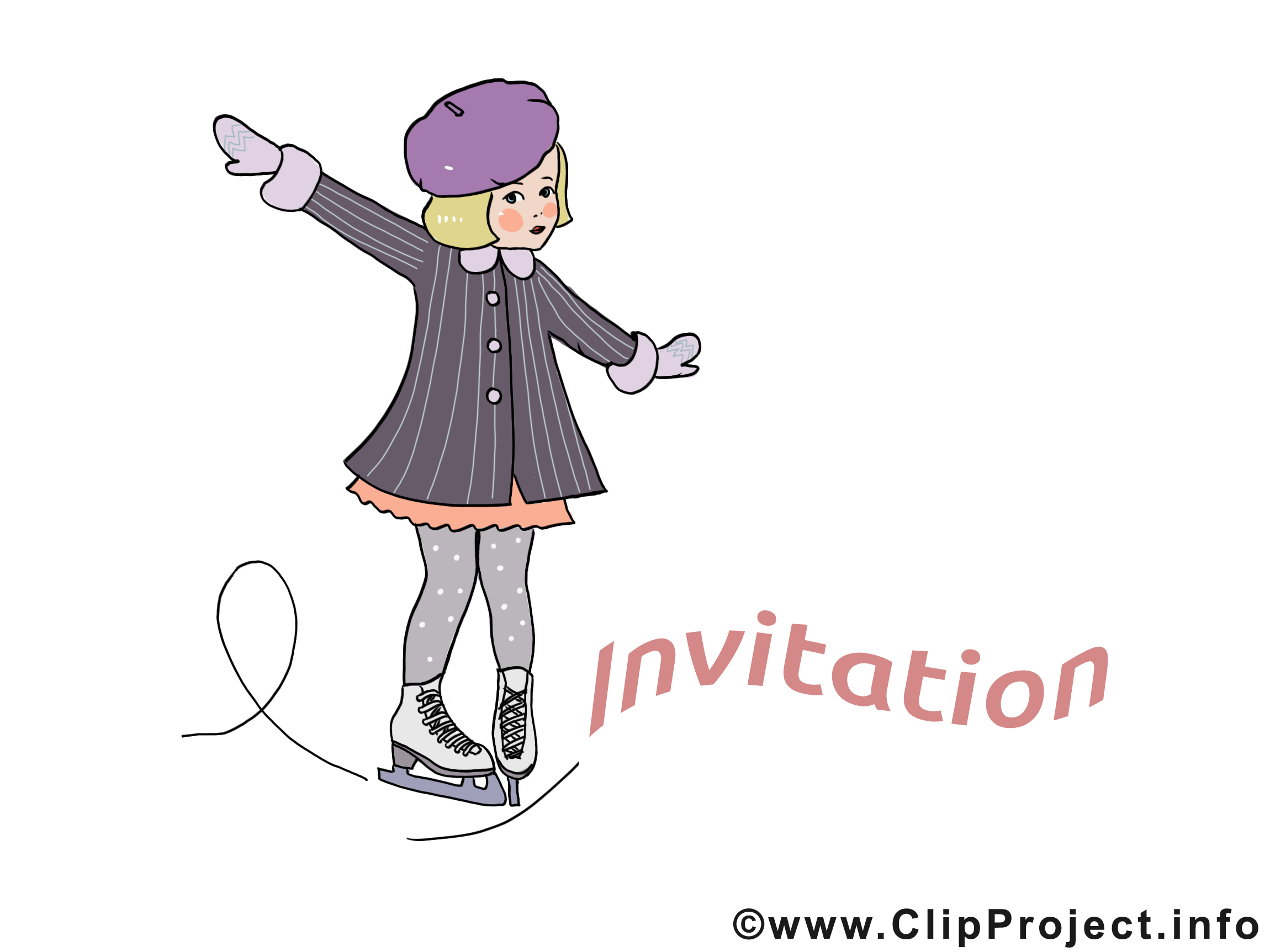 Patinage dessin - Invitation cliparts à télécharger
