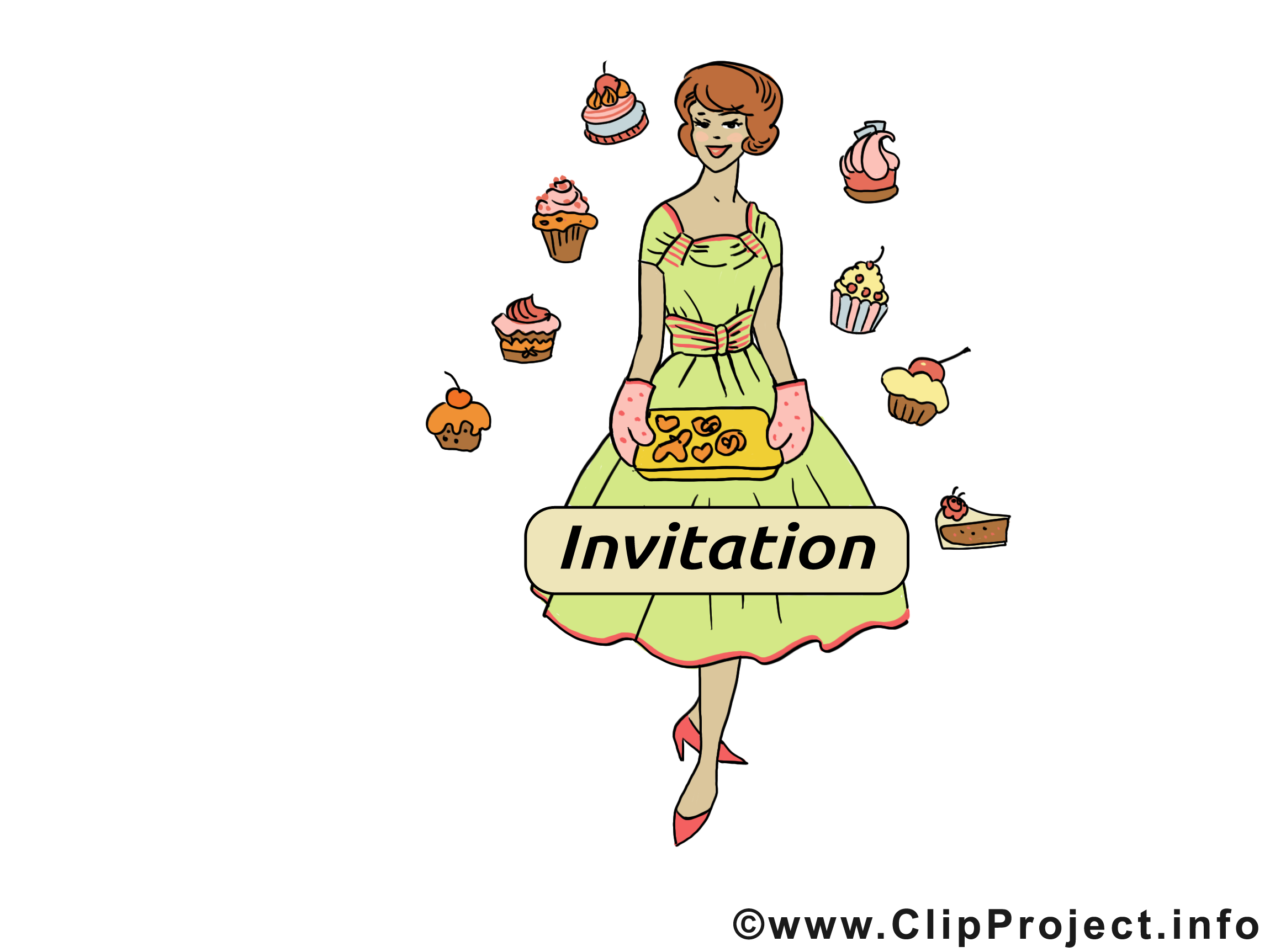 Pâtisserie clip arts gratuits - Invitation illustrations