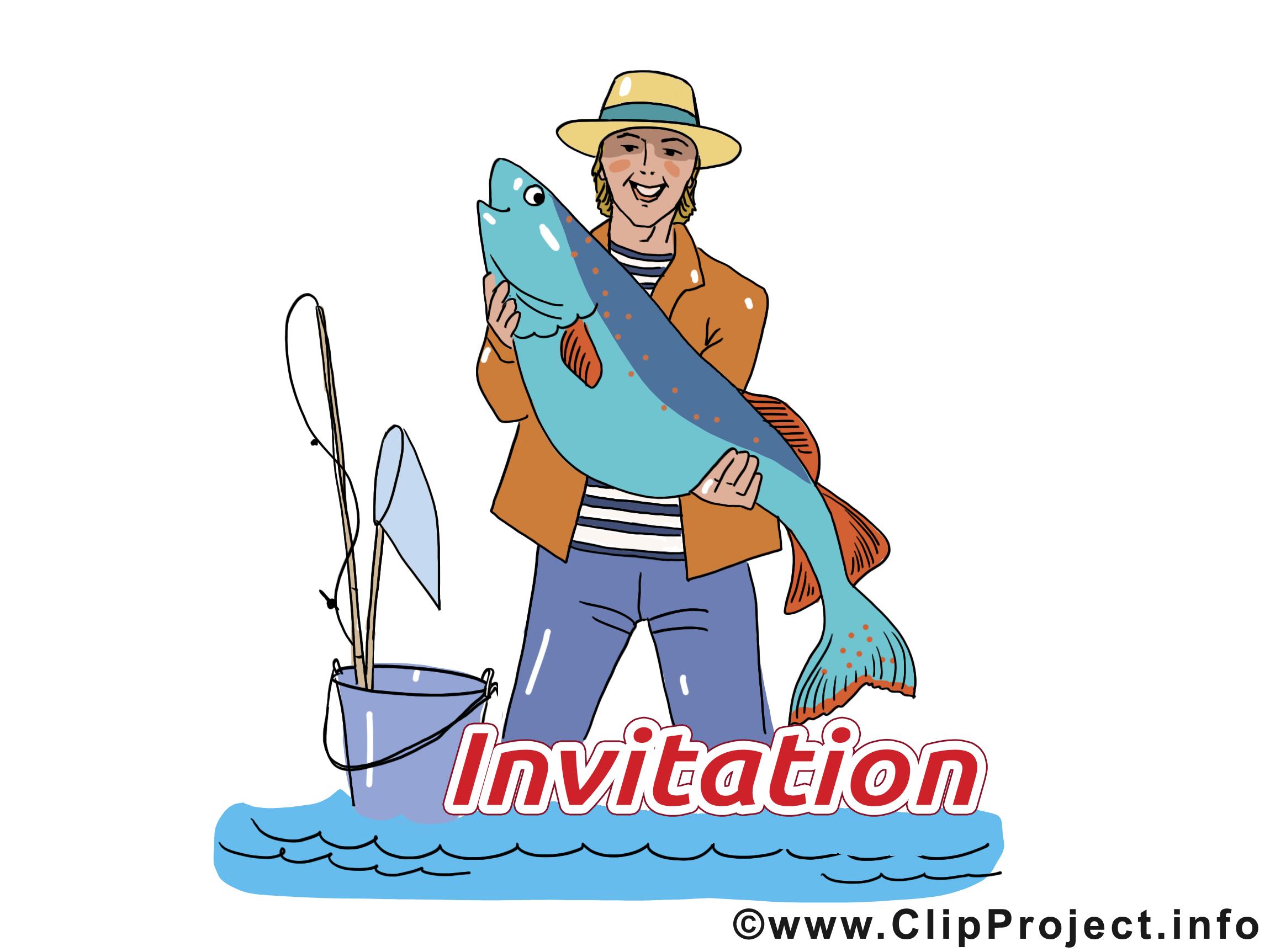 Pêcheur illustration - Invitation clipart
