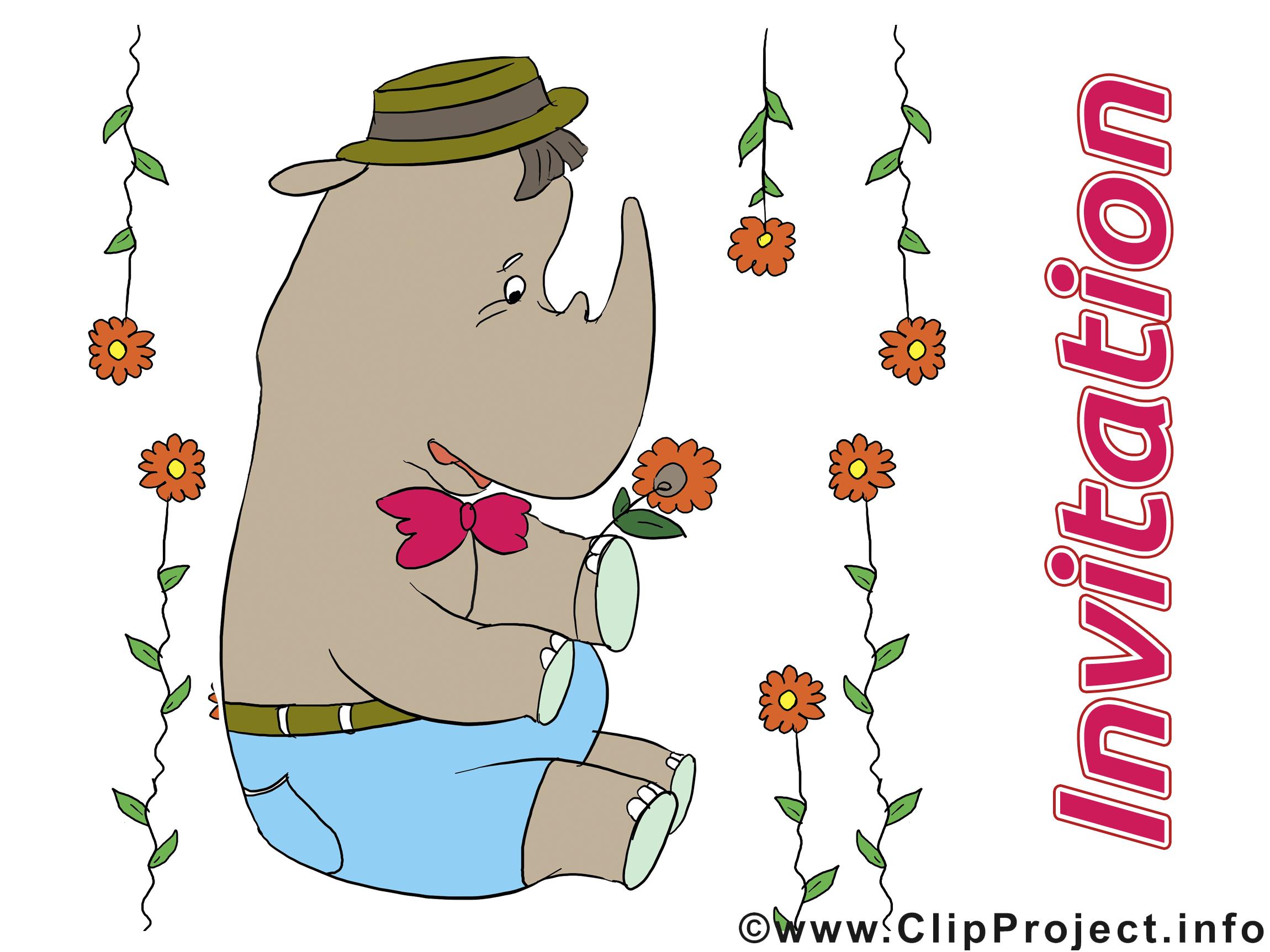 Rhinocéros invitation image à télécharger gratuite