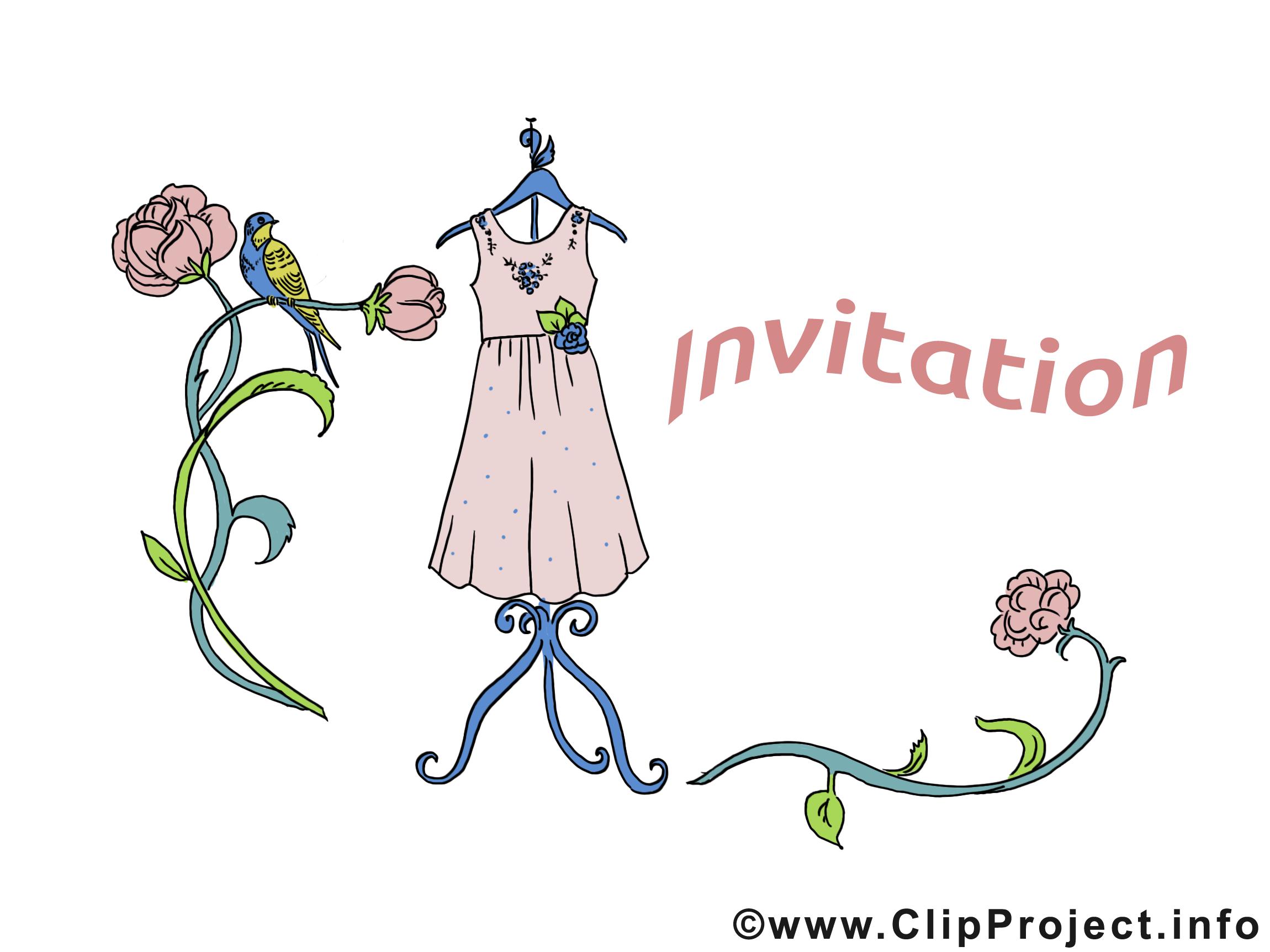 Robe fleurs images gratuites – Invitation clipart