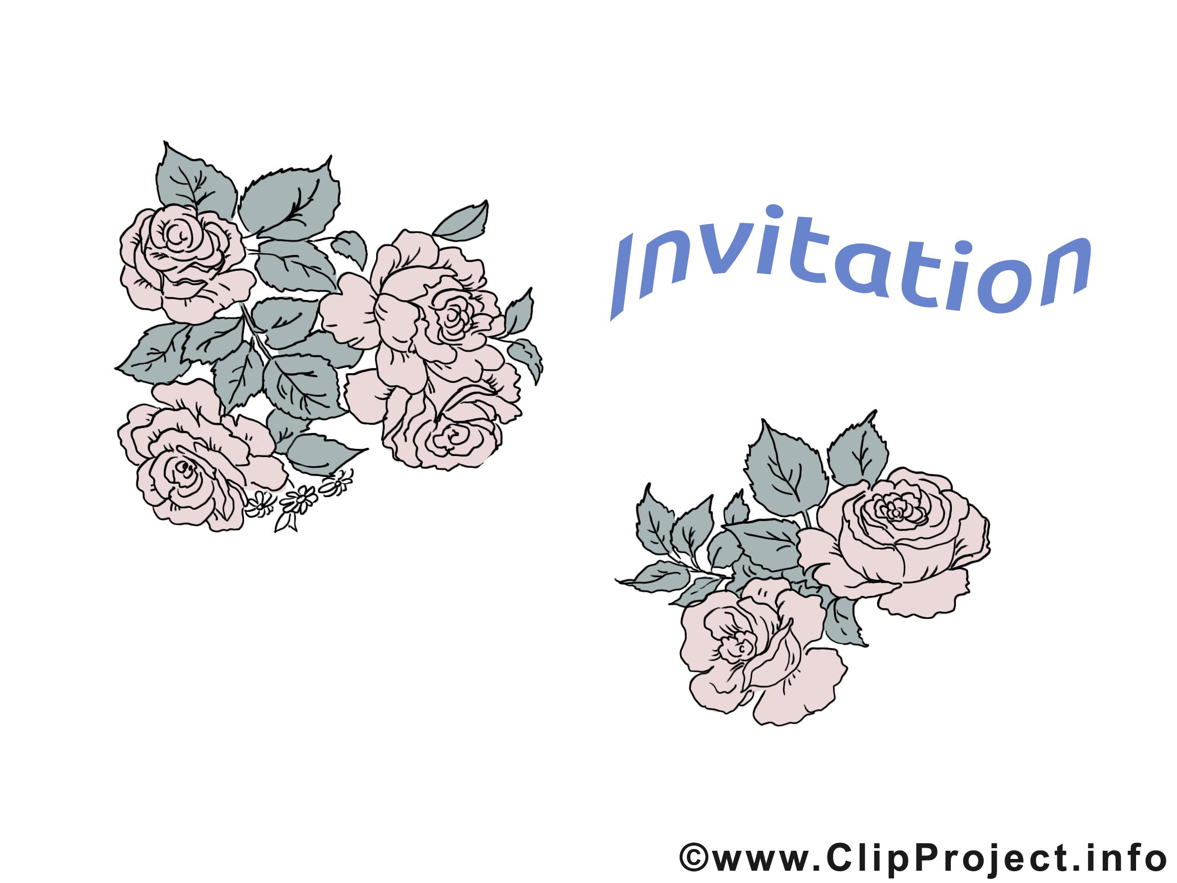 Roses clip art gratuit - Invitation dessin