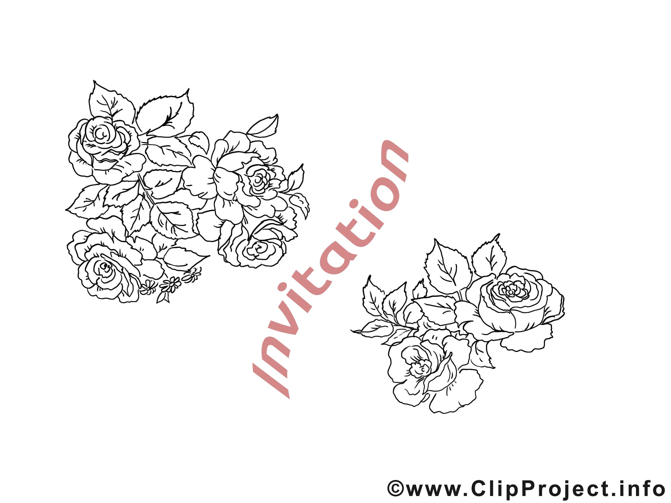 Roses invitation illustration à colorier gratuite