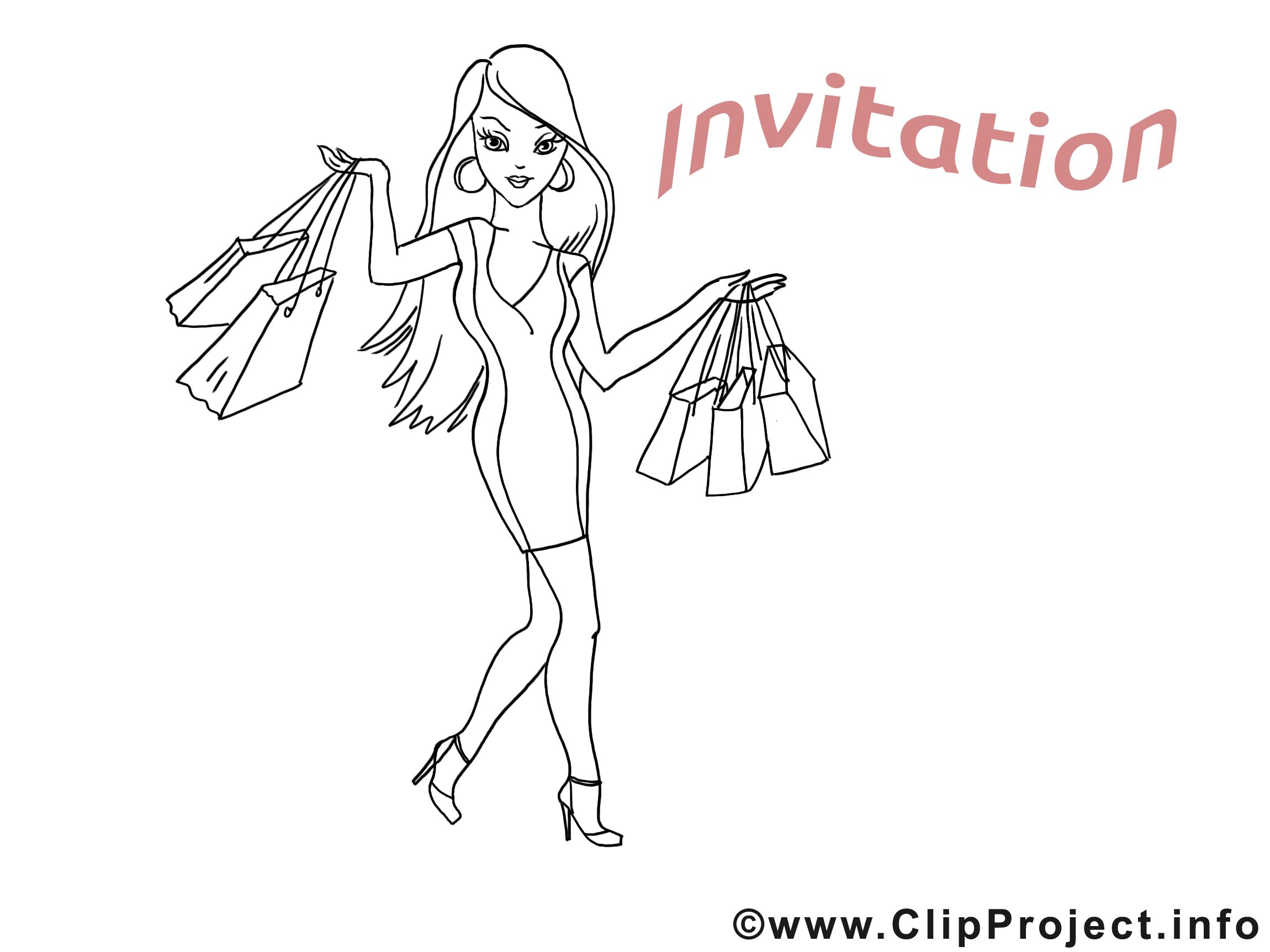 Shoping invitation image à colorier gratuite