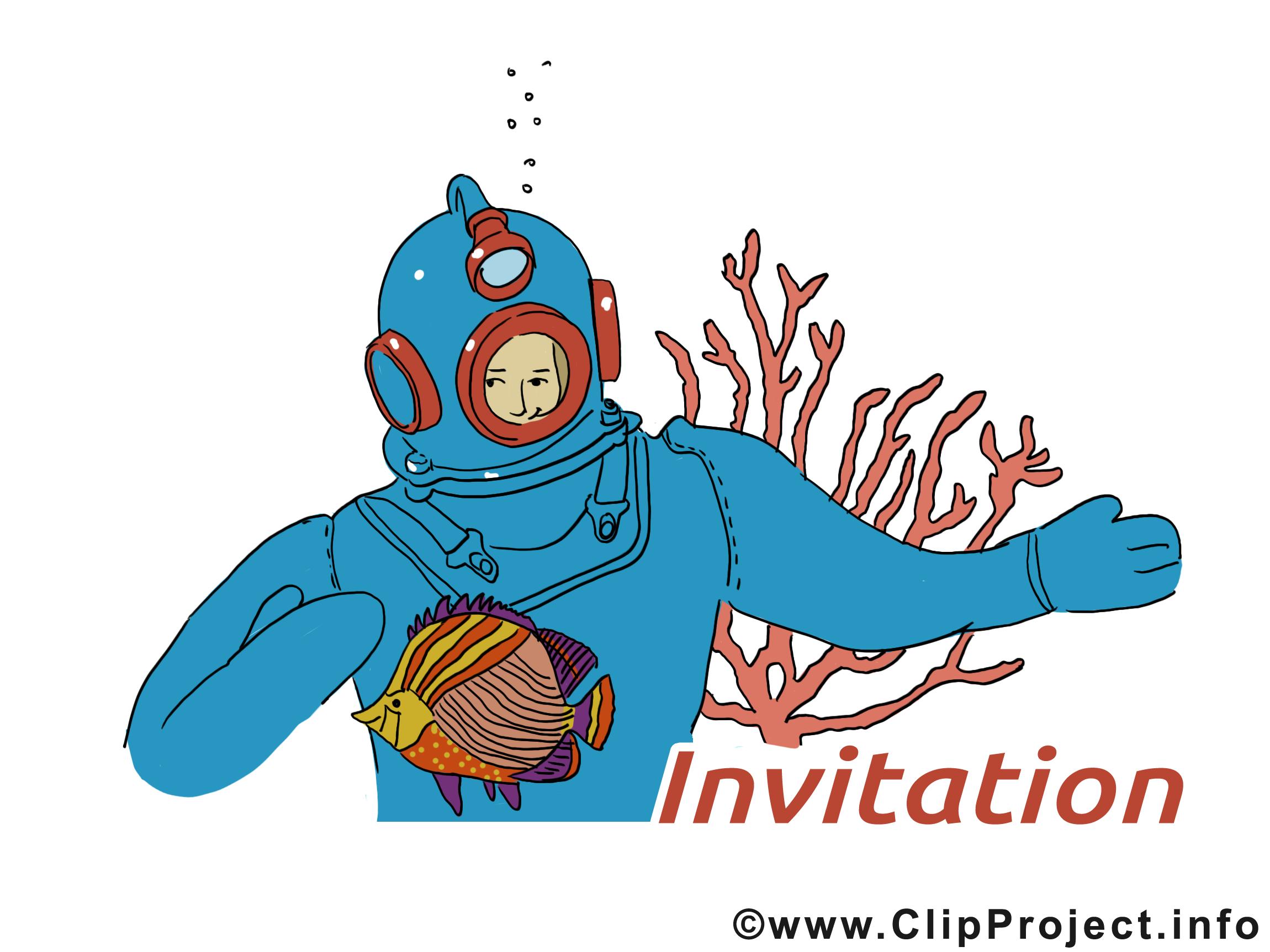 Sous-marinier illustration - Invitation clipart