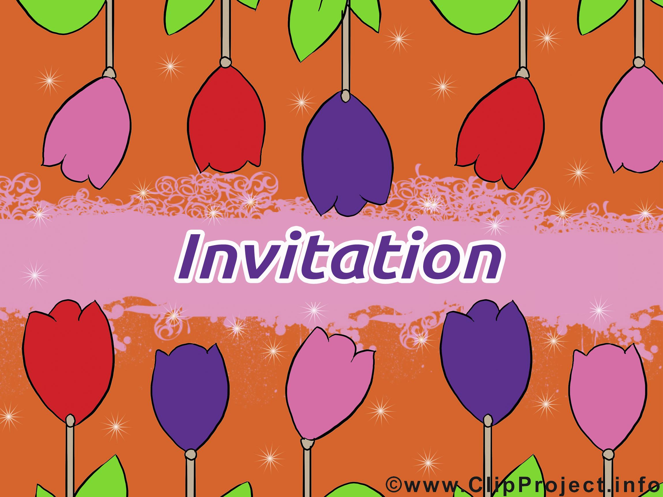 Tulipes cliparts gratuis - Invitation images