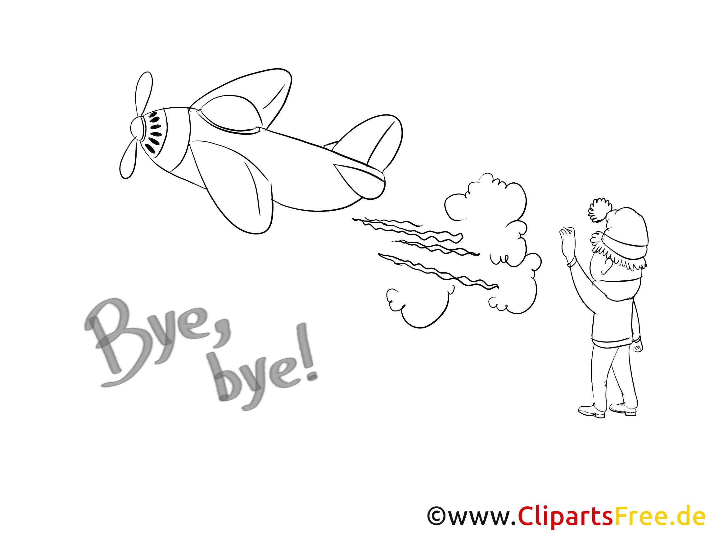 Avion clip art à colorier - Adieu dessin